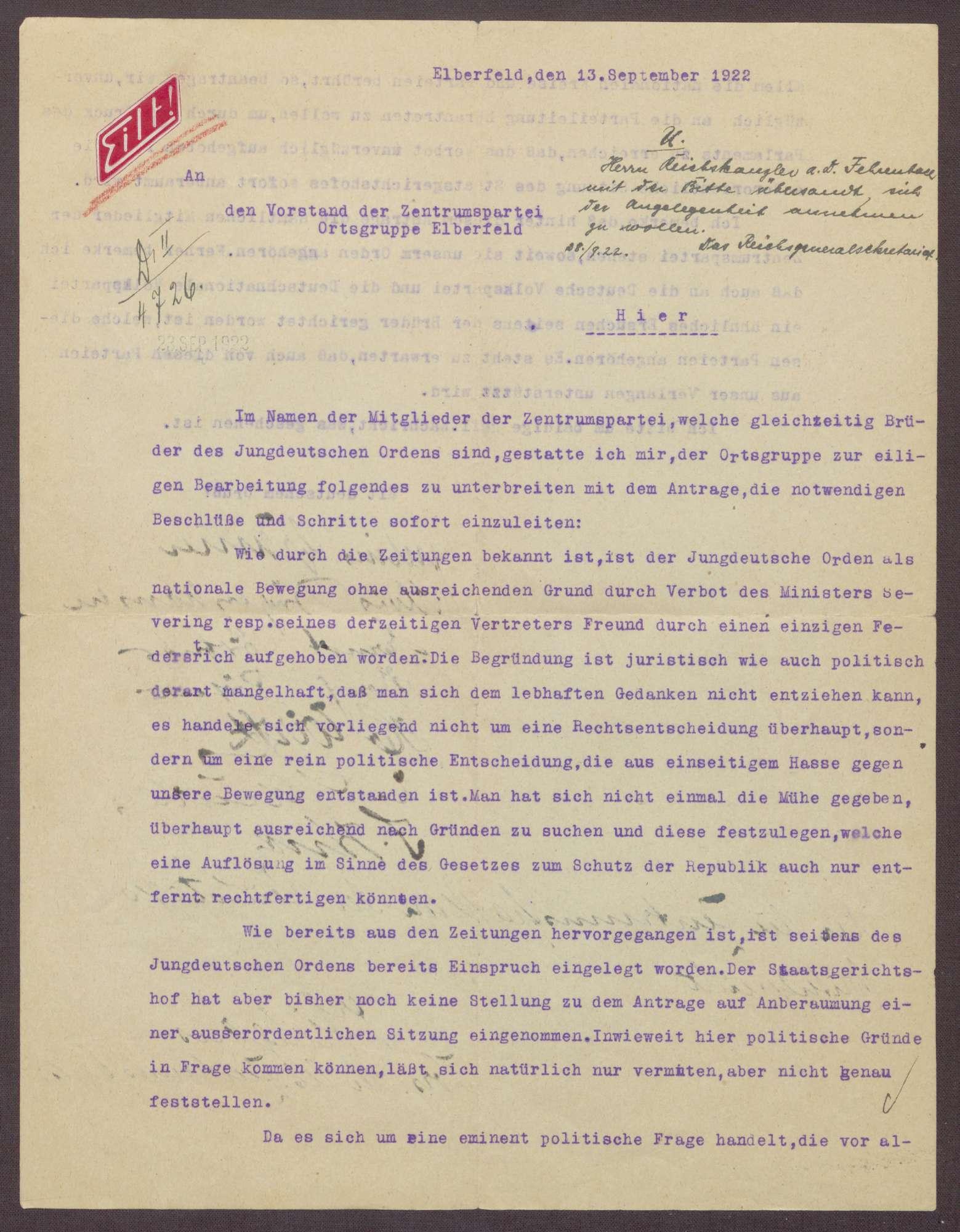 Schreiben des Jungdeutschen Ordens an die Zentrumspartei, Ortsgruppe Elberfeld, Einspruch gegen das Verbot des Jungdeutschen Ordens, Bild 2