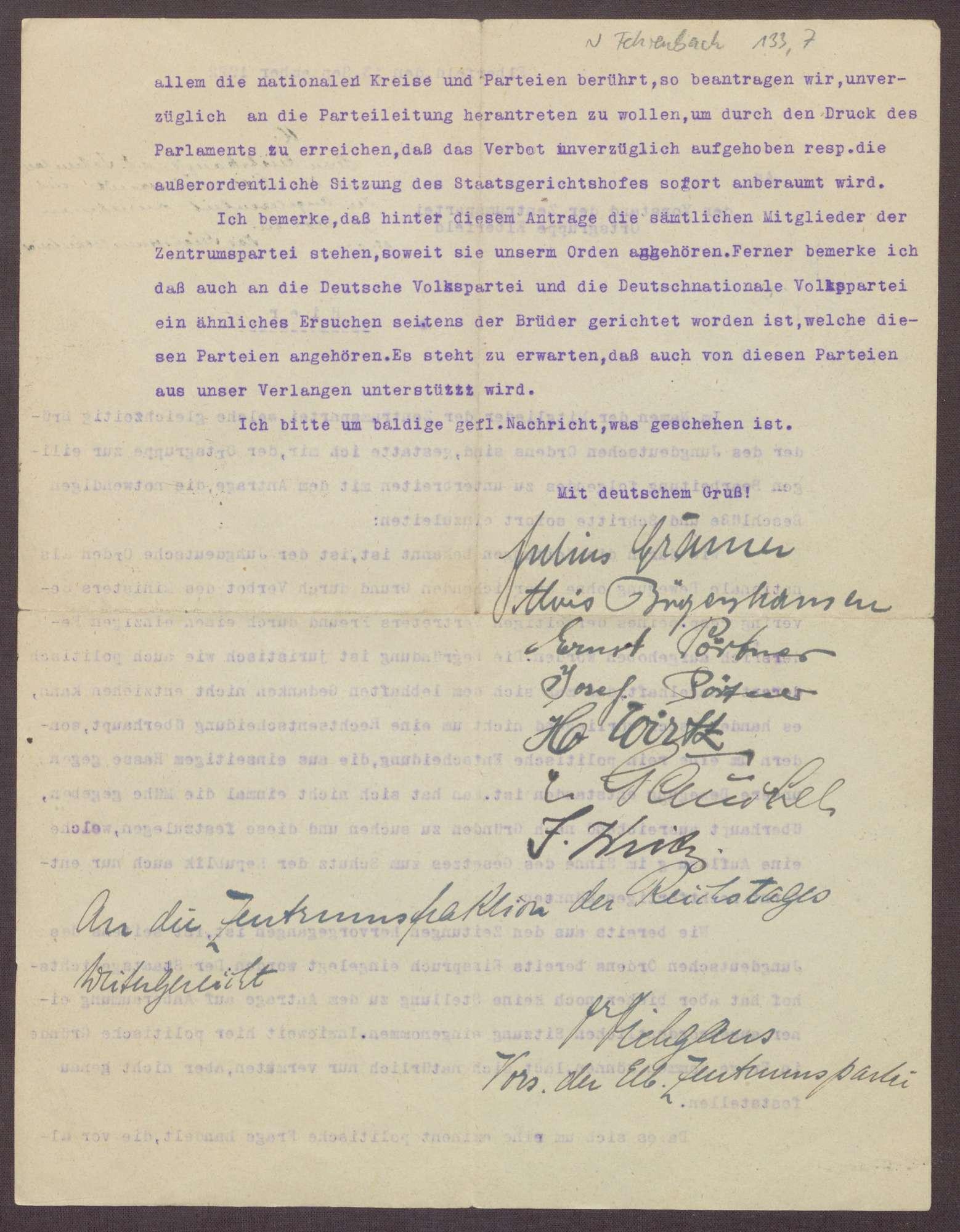 Schreiben des Jungdeutschen Ordens an die Zentrumspartei, Ortsgruppe Elberfeld, Einspruch gegen das Verbot des Jungdeutschen Ordens, Bild 3