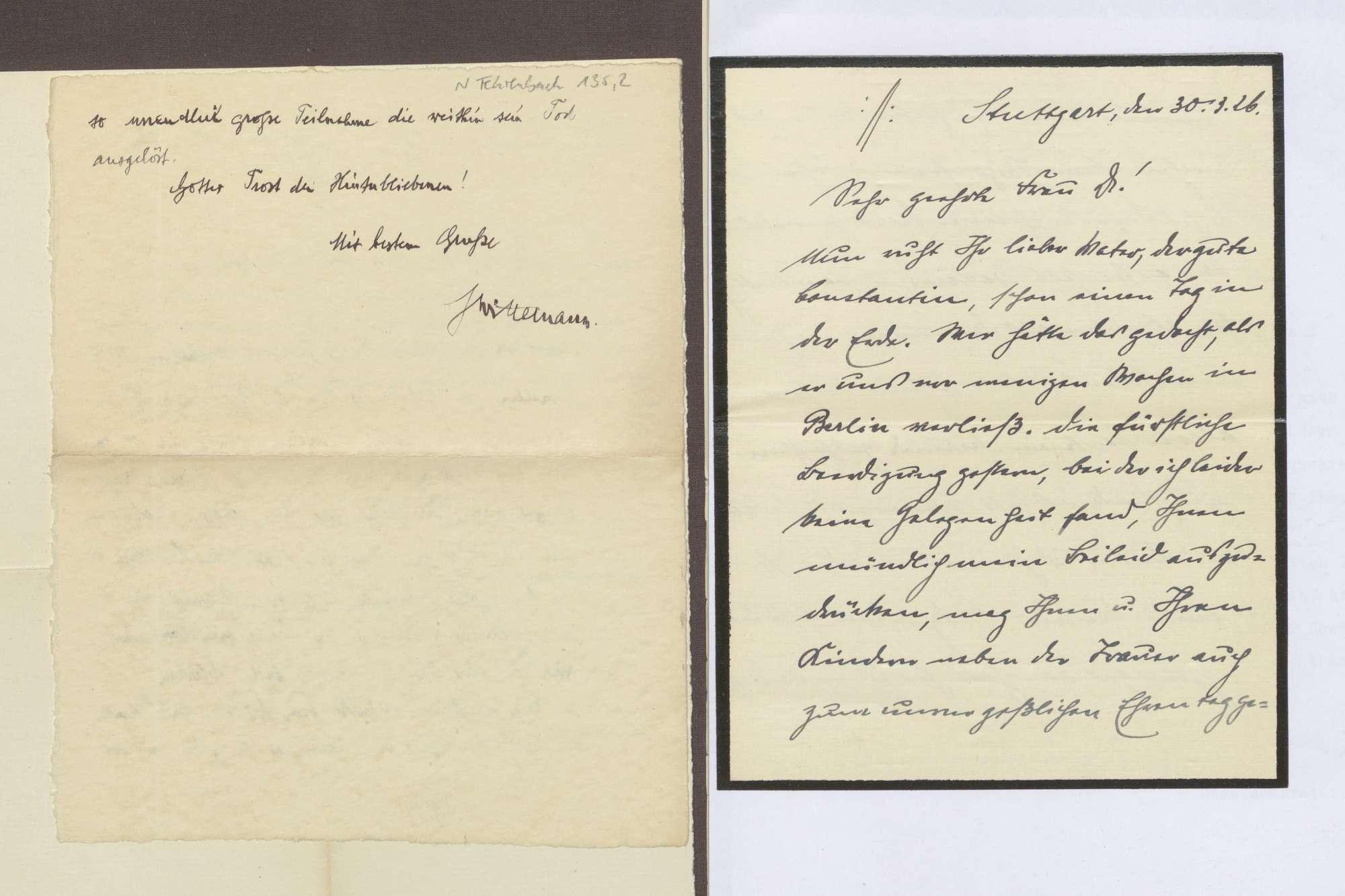 Schreiben von Eugen Bolz an Elisabeth Rosset, Kondolenzschreiben zum Tod von Constantin Fehrenbach, Bild 1
