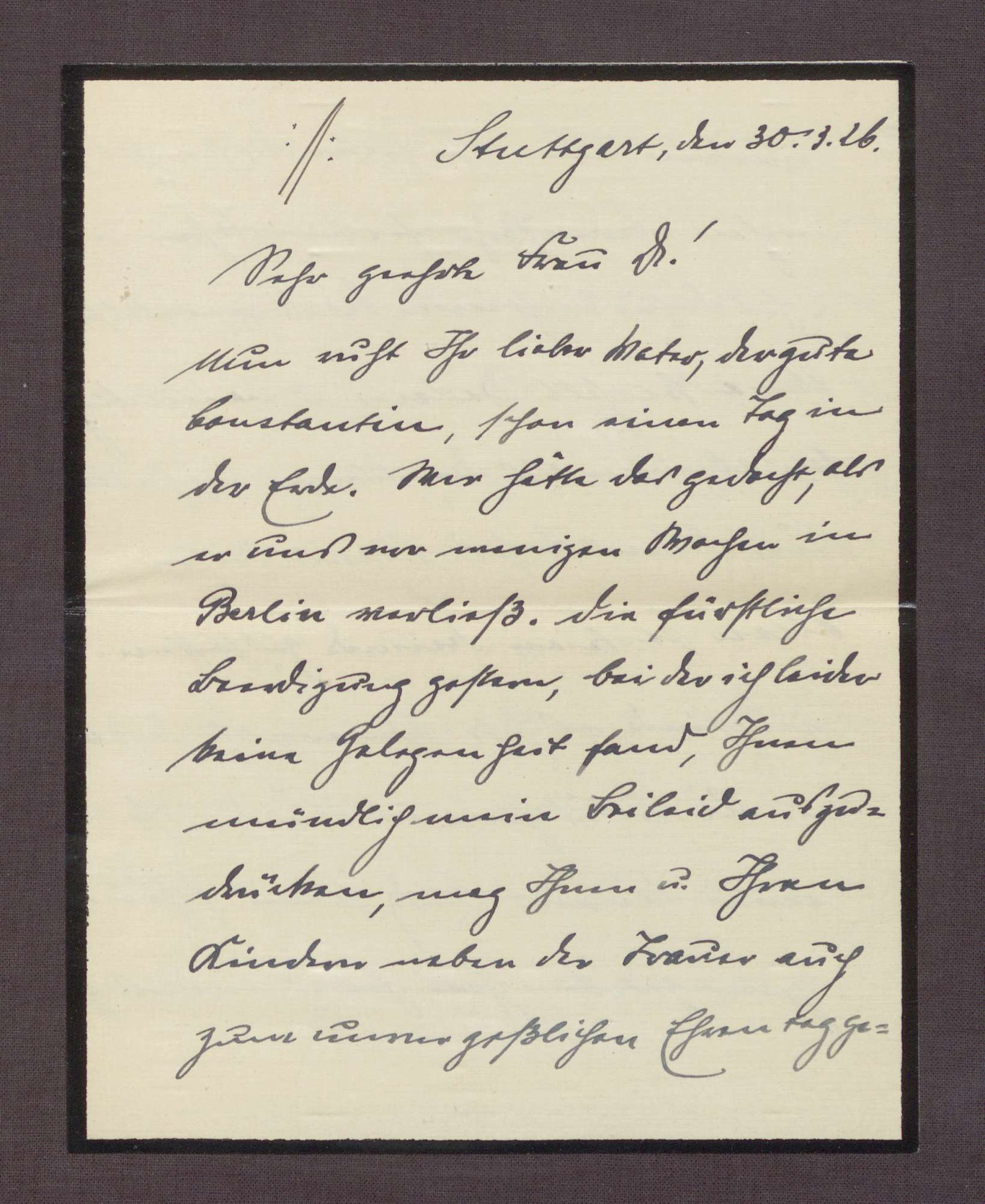 Schreiben von Eugen Bolz an Elisabeth Rosset, Kondolenzschreiben zum Tod von Constantin Fehrenbach, Bild 3