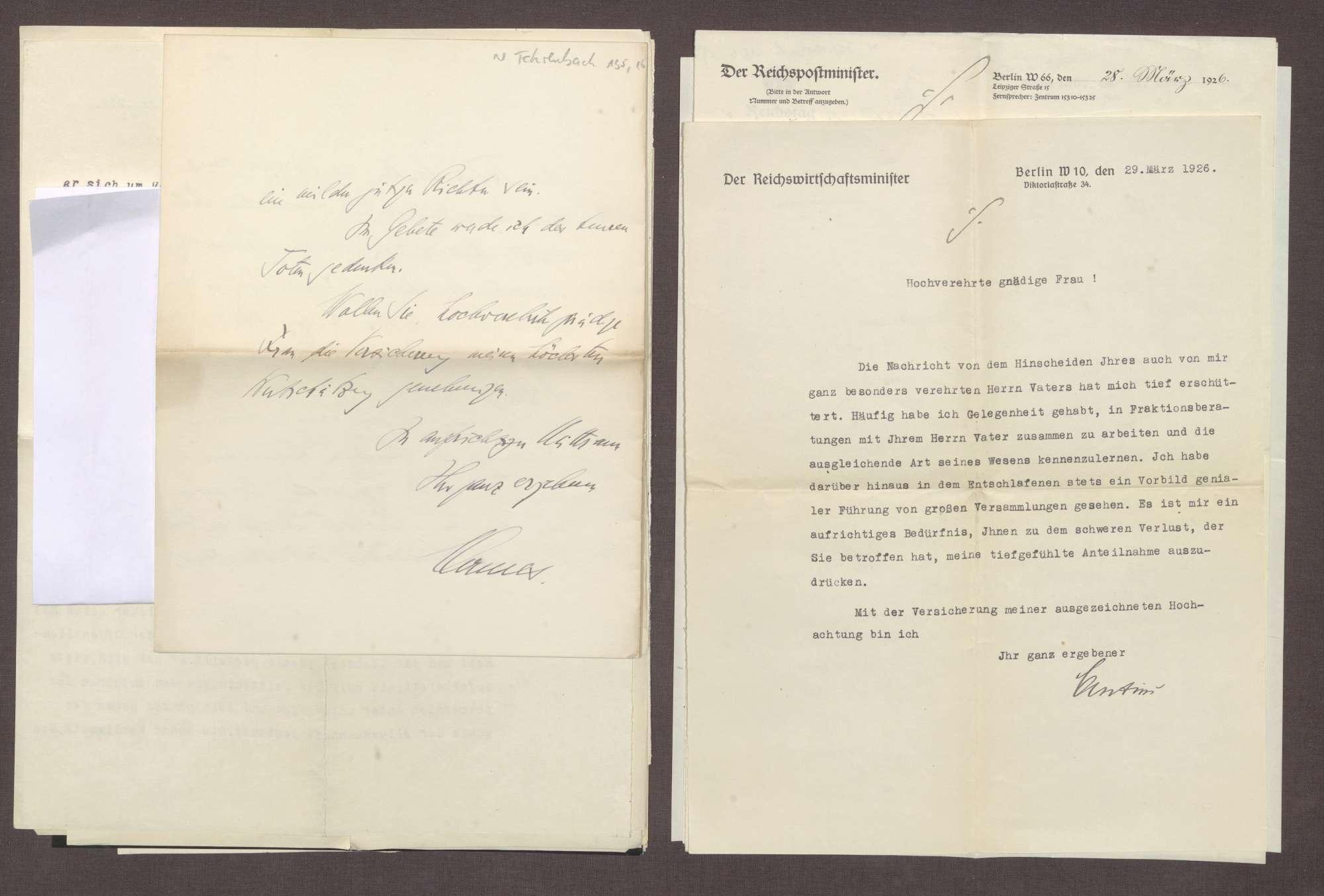 Schreiben von Julius Curtius an Elisabeth Rosset, Kondolenzbrief zum Tod von Constantin Fehrenbach, Bild 1