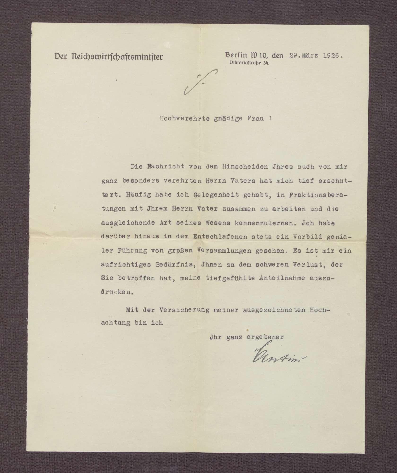 Schreiben von Julius Curtius an Elisabeth Rosset, Kondolenzbrief zum Tod von Constantin Fehrenbach, Bild 2