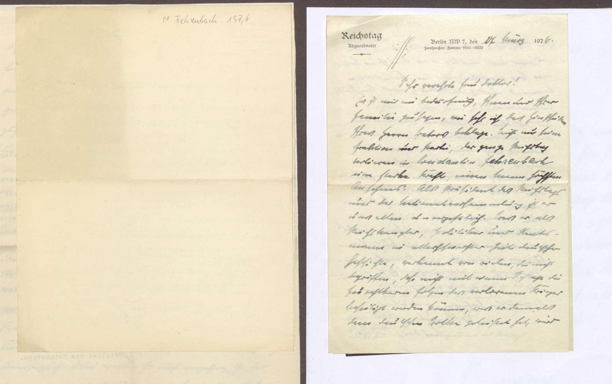 Schreiben von Ludwig Haas an Elisabeth Rosset, Kondolenzbrief zum Tod von Constantin Fehrenbach, Bild 1