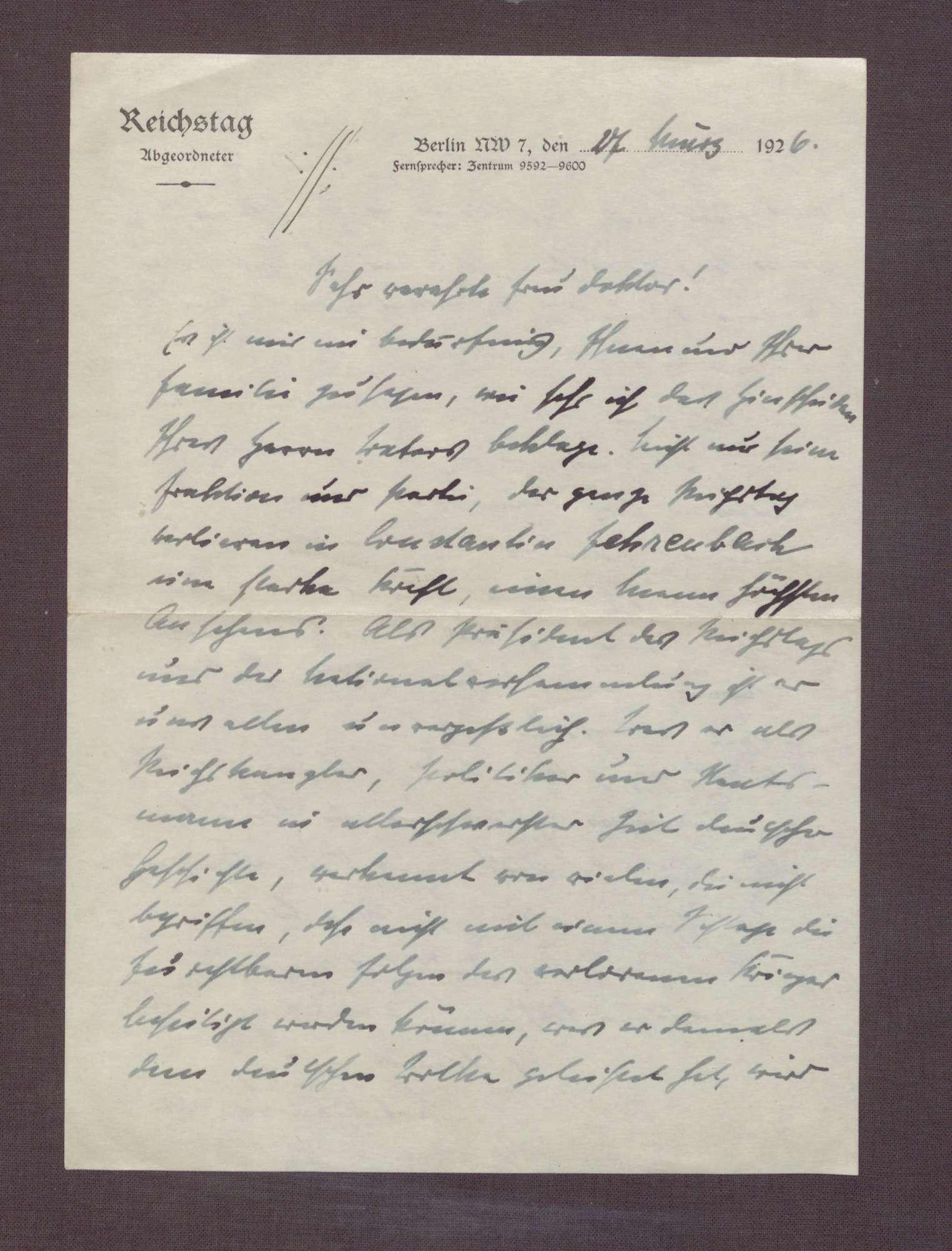 Schreiben von Ludwig Haas an Elisabeth Rosset, Kondolenzbrief zum Tod von Constantin Fehrenbach, Bild 2