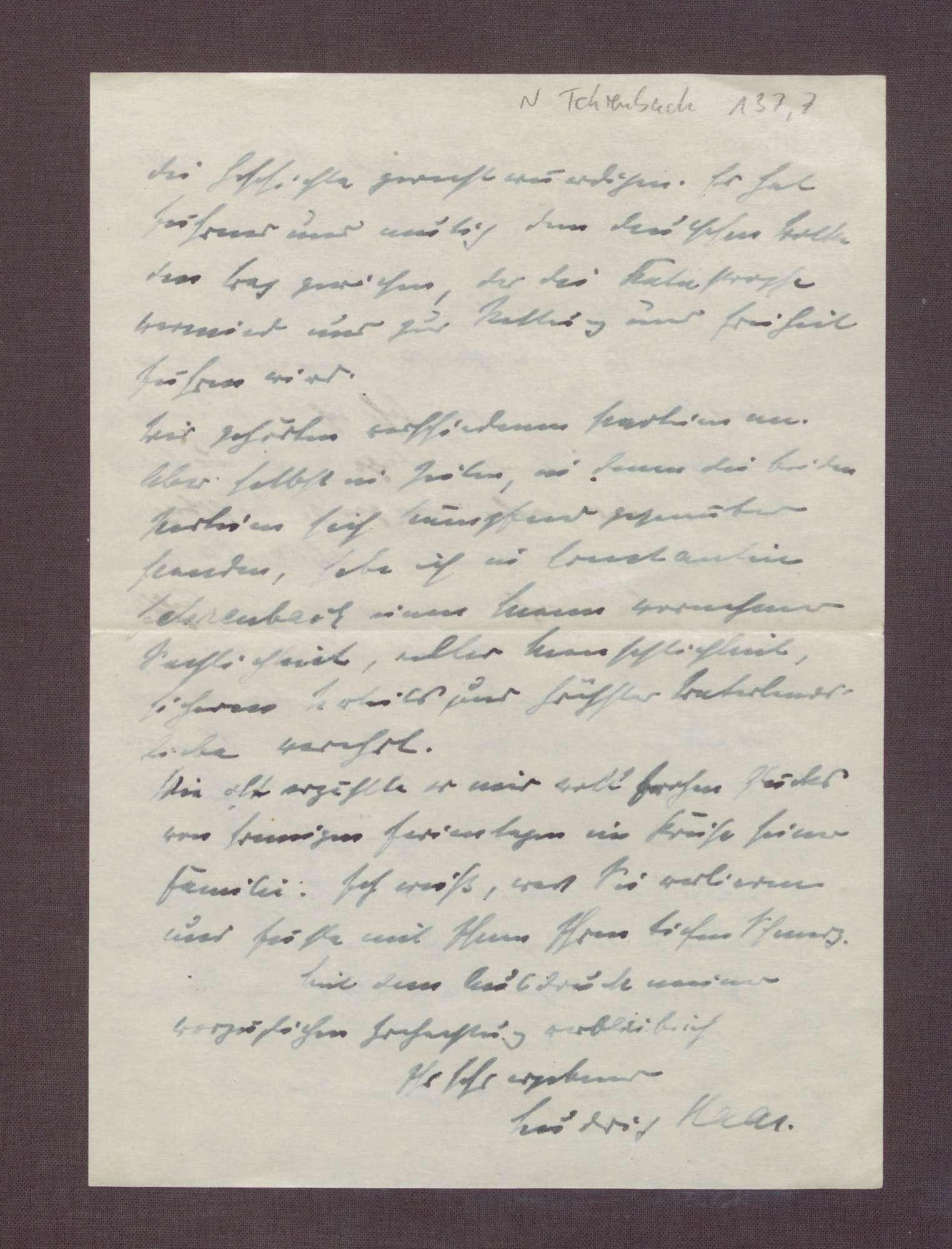 Schreiben von Ludwig Haas an Elisabeth Rosset, Kondolenzbrief zum Tod von Constantin Fehrenbach, Bild 3