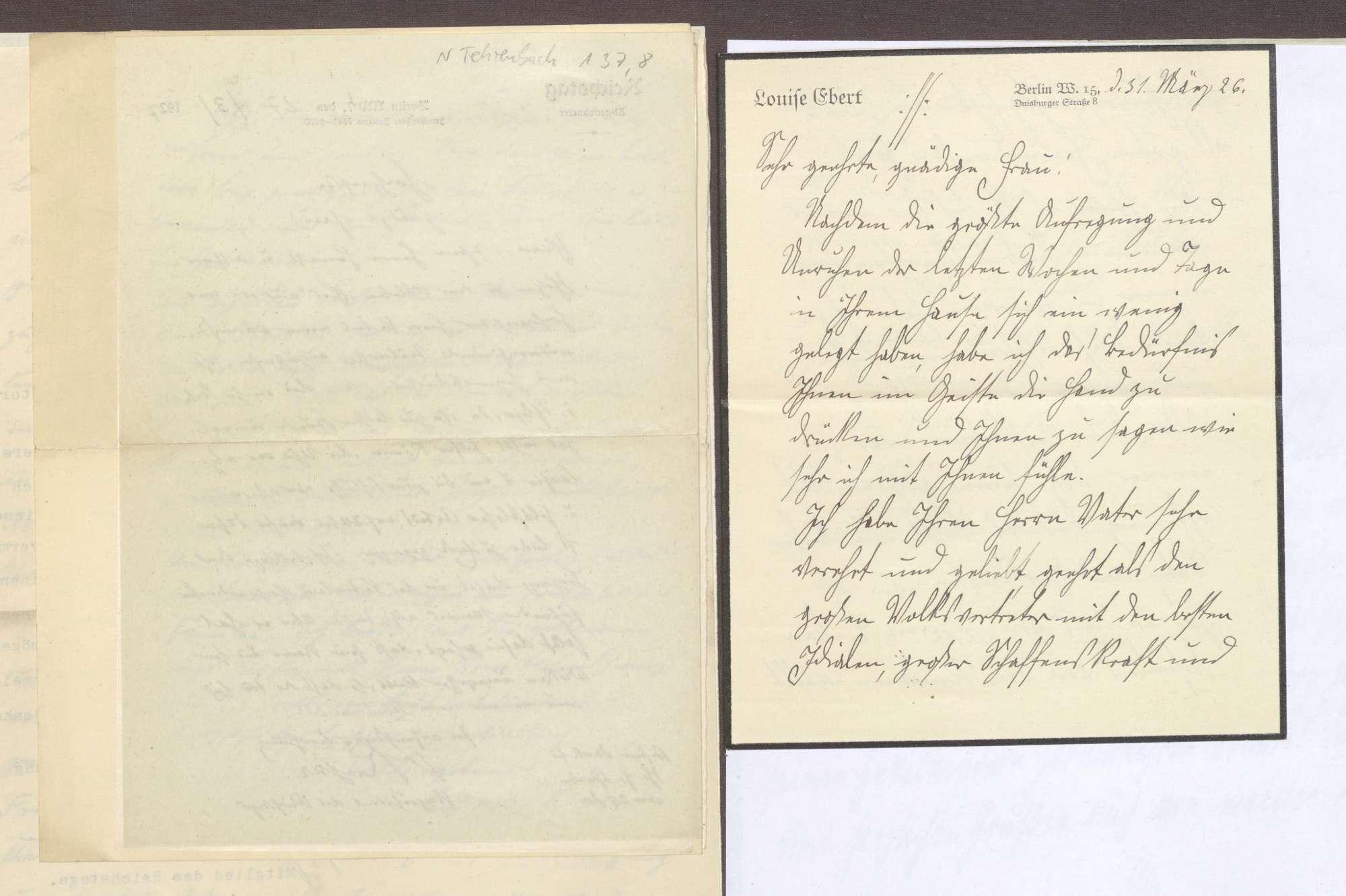 Schreiben von Louise Ebert, Berlin, an Elisabeth Rosset, Kondolenzbrief zum Tod von Constantin Fehrenbach, Bild 1