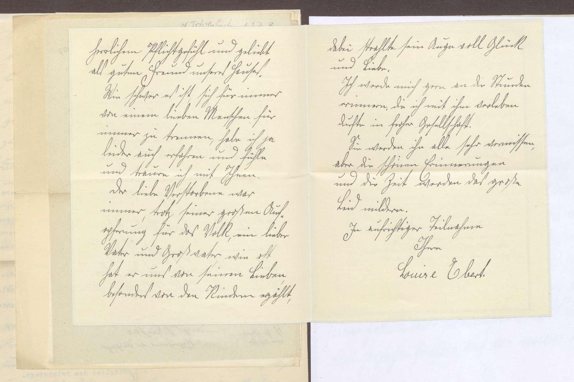Schreiben von Louise Ebert, Berlin, an Elisabeth Rosset, Kondolenzbrief zum Tod von Constantin Fehrenbach, Bild 2