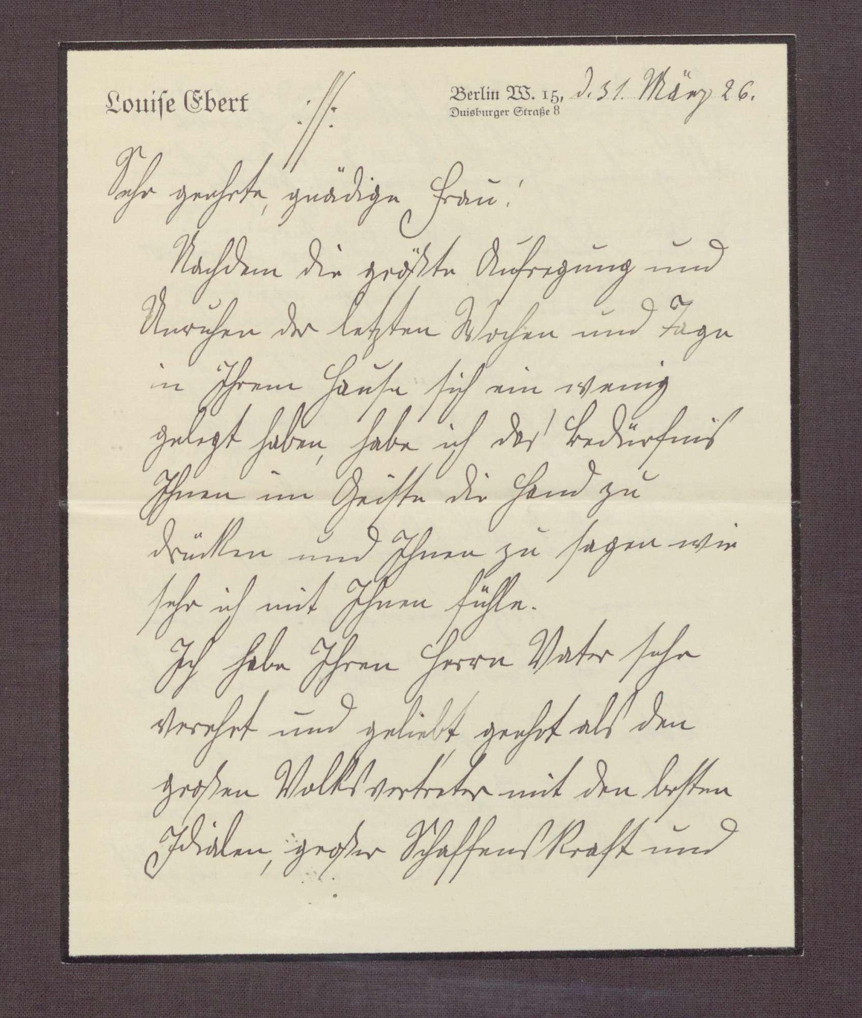 Schreiben von Louise Ebert, Berlin, an Elisabeth Rosset, Kondolenzbrief zum Tod von Constantin Fehrenbach, Bild 3
