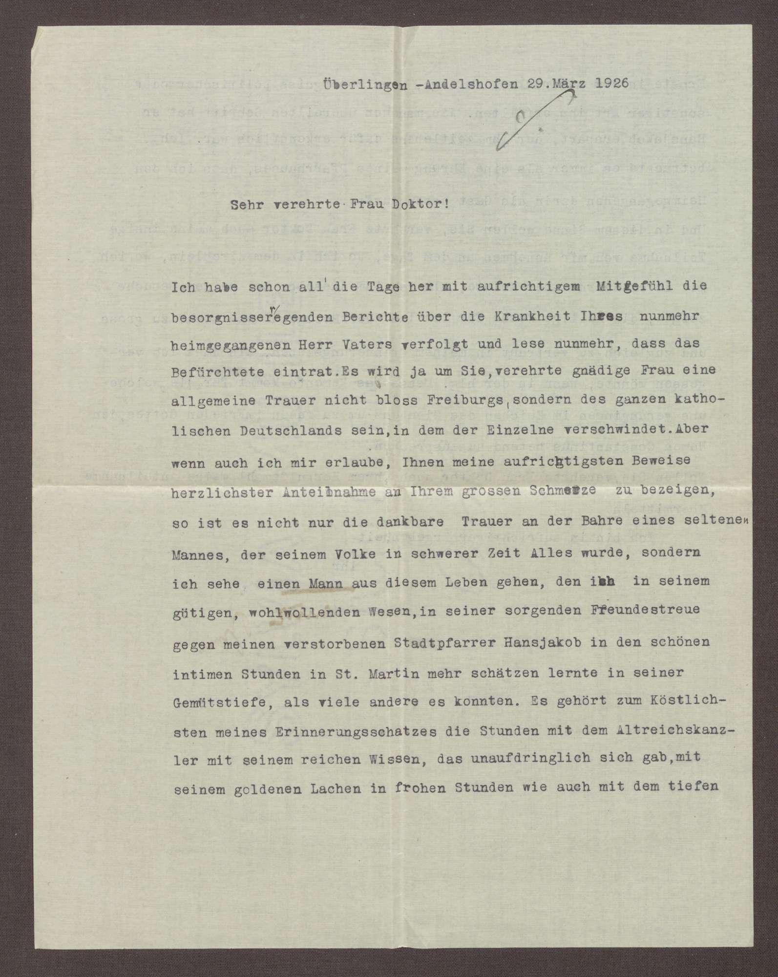 Schreiben von Traude Stamm, Überlingen, an Elisabeth Rosset, Kondolenzbrief zum Tod von Constantin Fehrenbach, Bild 1
