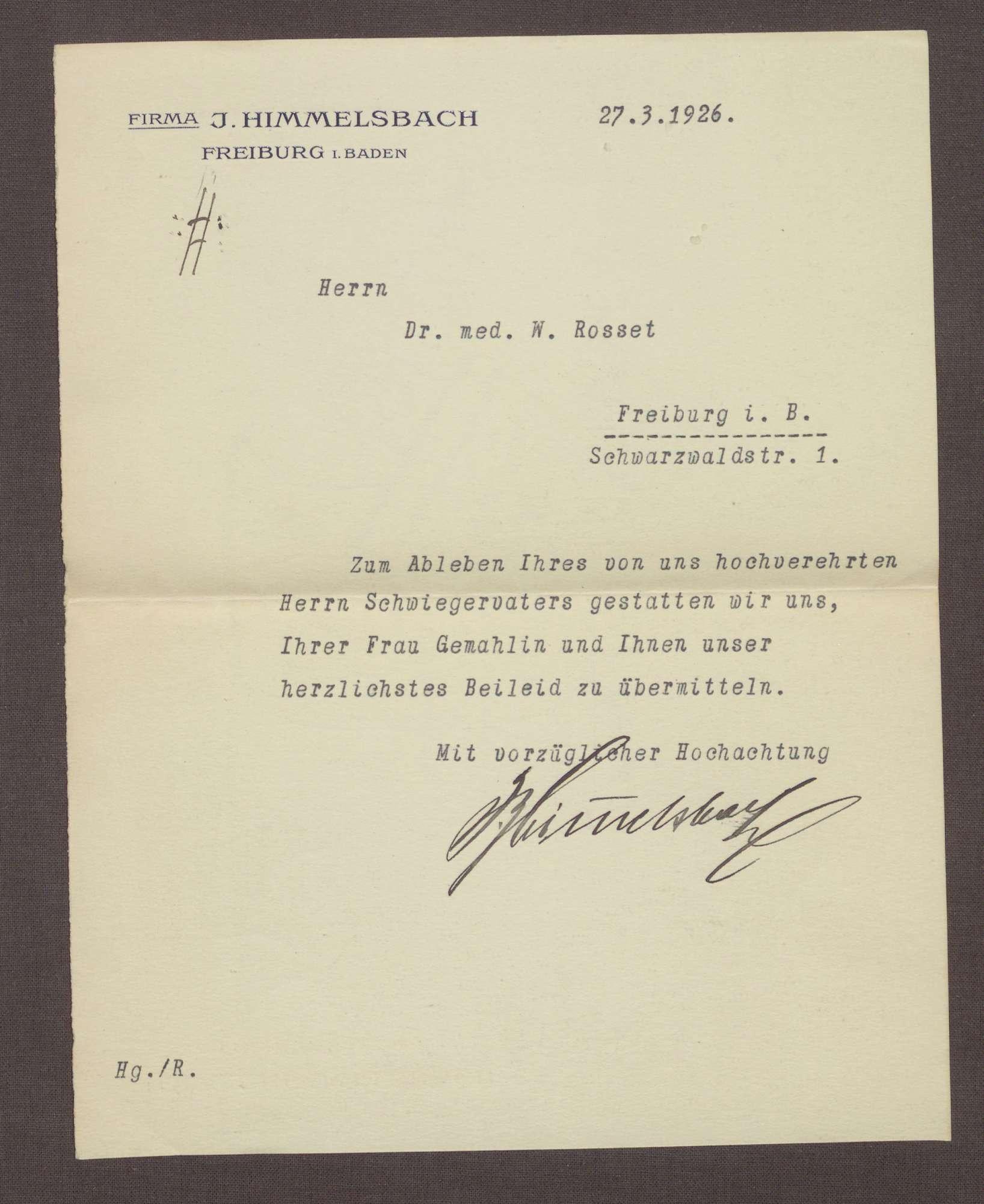 Schreiben von Josef Himmelsbach, Freiburg, an Wilhelm Rosset, Kondolenzbrief zum Tod von Constantin Fehrenbach, Bild 1