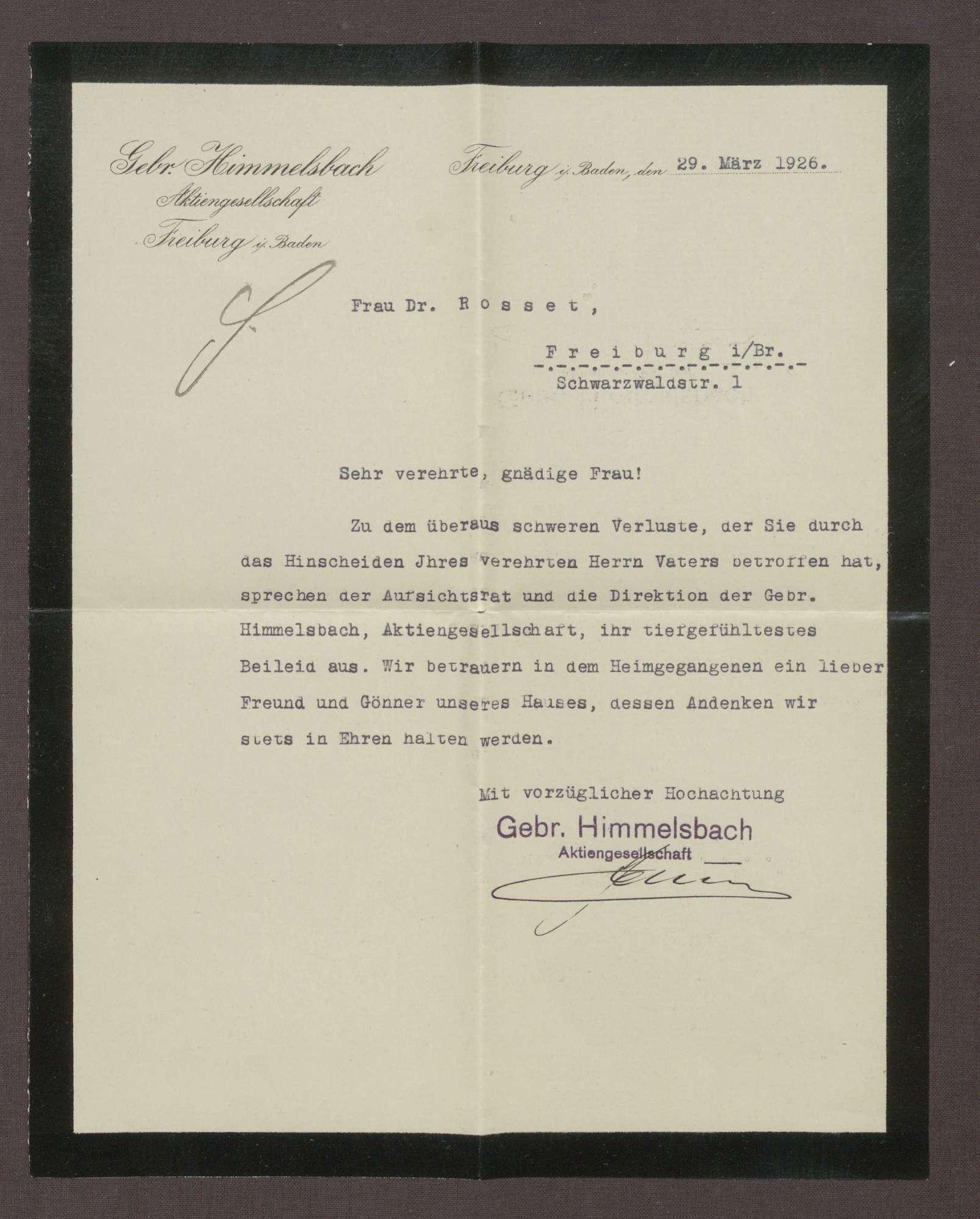 Schreiben der Gebrüder Himmelsbach, Freiburg, an Elisabeth Rosset, Kondolenzbrief zum Tod von Constantin Fehrenbach, Bild 1