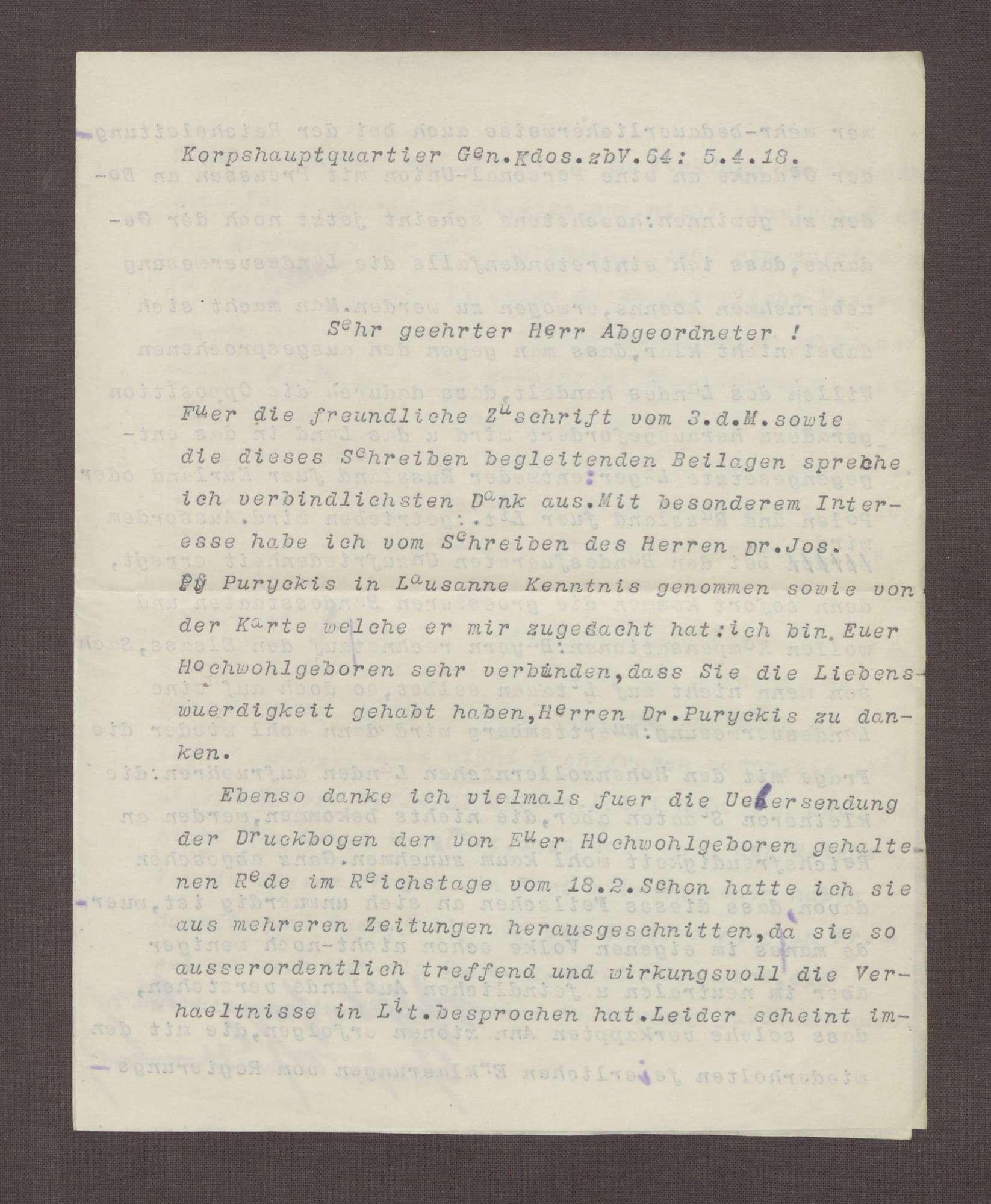 Schreiben von Wilhelm von Urach an Constantin Fehrenbach, Politische Lage in Litauen und Kurland, Bild 1