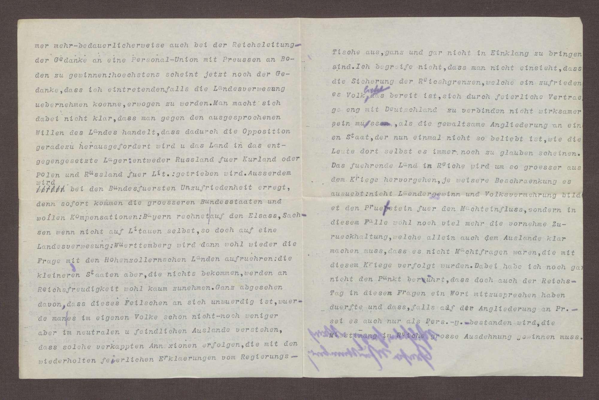Schreiben von Wilhelm von Urach an Constantin Fehrenbach, Politische Lage in Litauen und Kurland, Bild 2