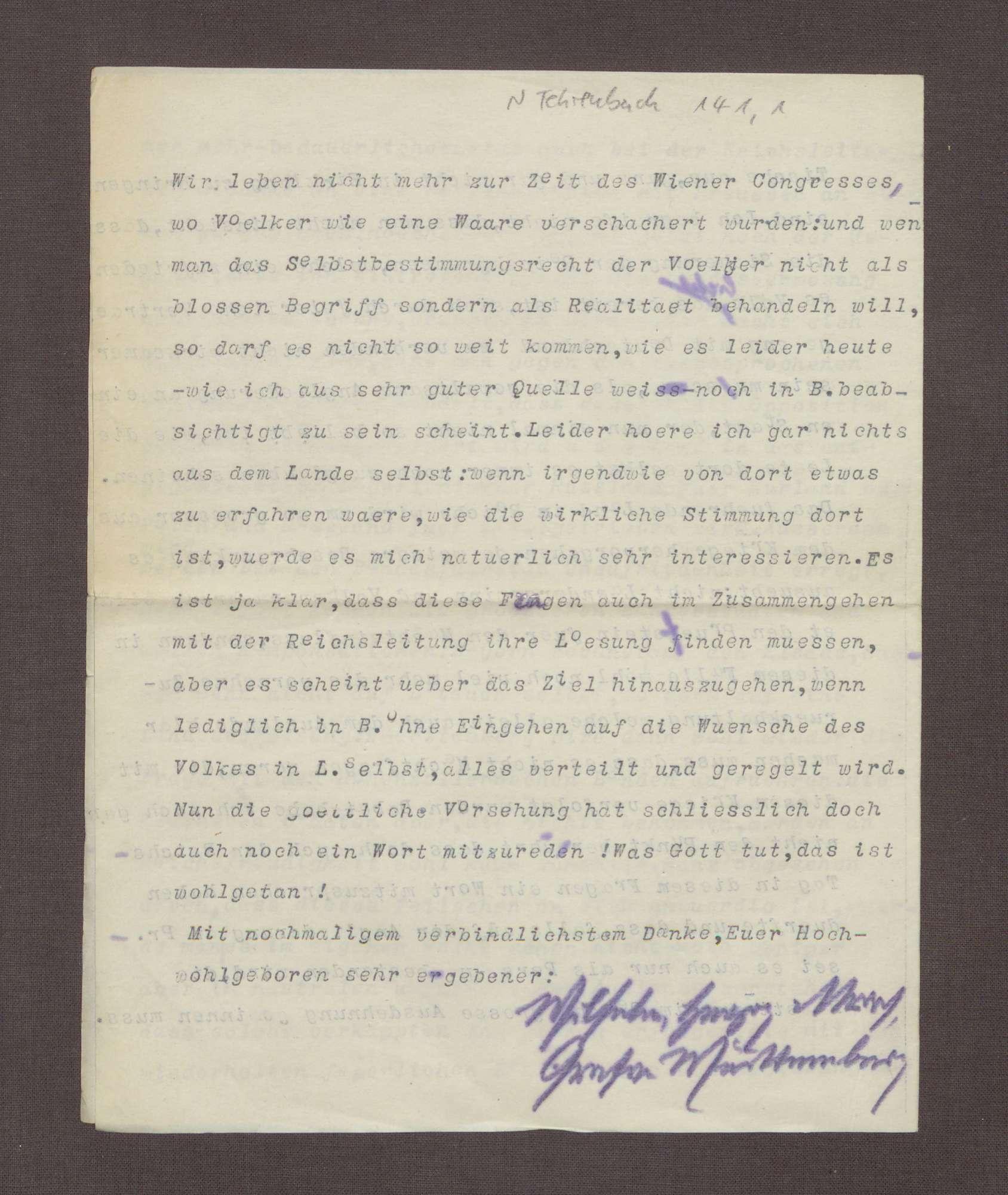 Schreiben von Wilhelm von Urach an Constantin Fehrenbach, Politische Lage in Litauen und Kurland, Bild 3