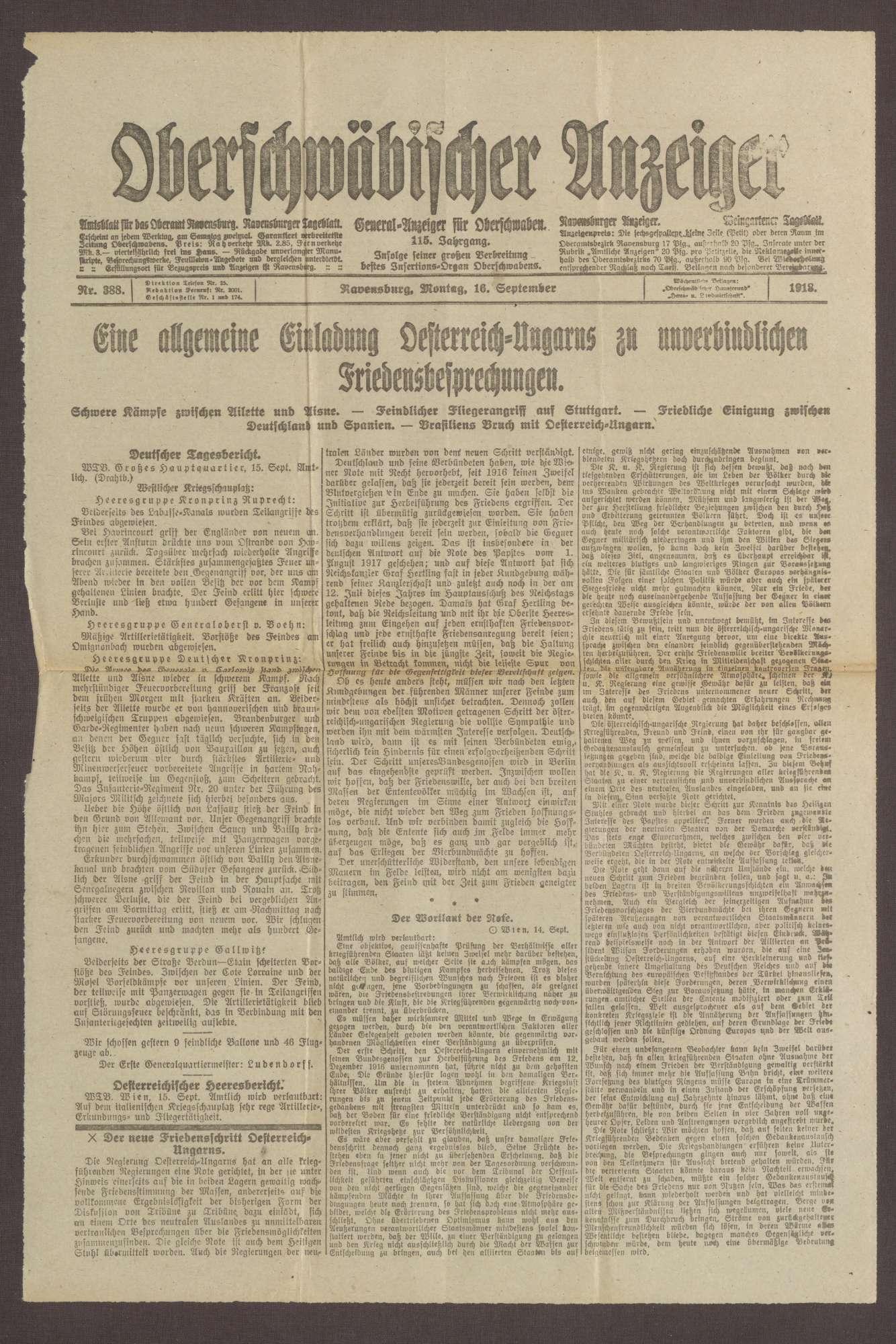"""Ausgabe von """"Oberschwäbischer Anzeiger"""", Bild 1"""