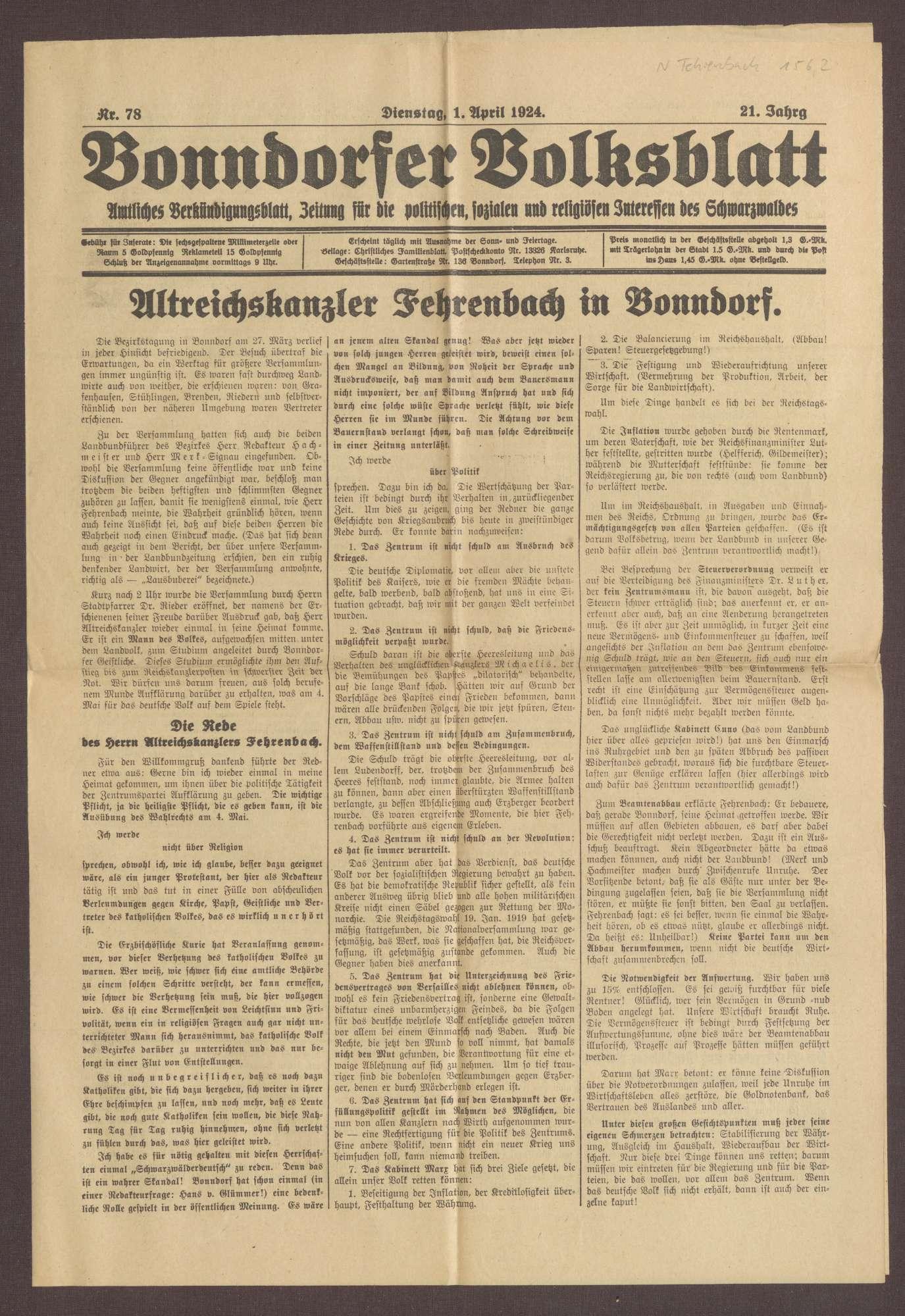 """Ausgabe von """"Bonndorfer Volksblatt"""", Bild 1"""