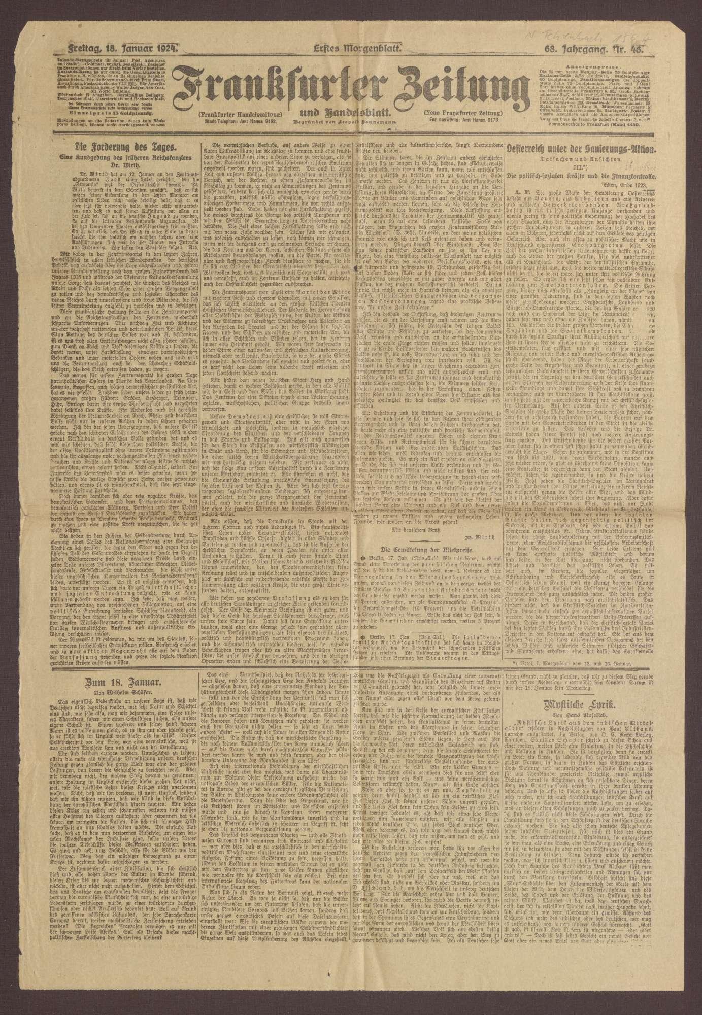 """Ausgabe von """"Frankfurter Zeitung"""", Bild 1"""