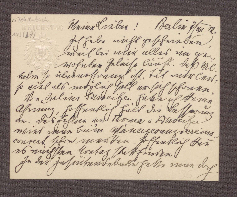 Postkarte von Constantin Fehrenbach, Berlin, an Elisabeth Rosset, Auseinandersetzungen in der Zentrumspartei und eine Rede von Adolf Gröber, Bild 1