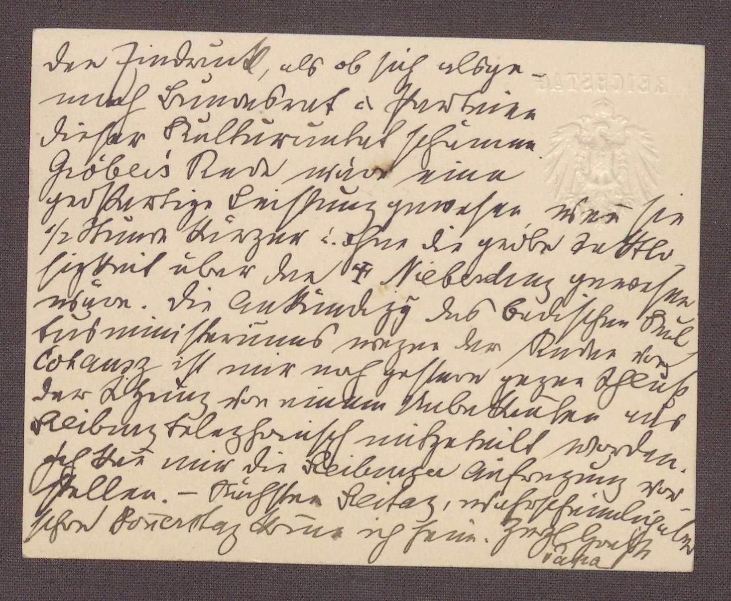 Postkarte von Constantin Fehrenbach, Berlin, an Elisabeth Rosset, Auseinandersetzungen in der Zentrumspartei und eine Rede von Adolf Gröber, Bild 2