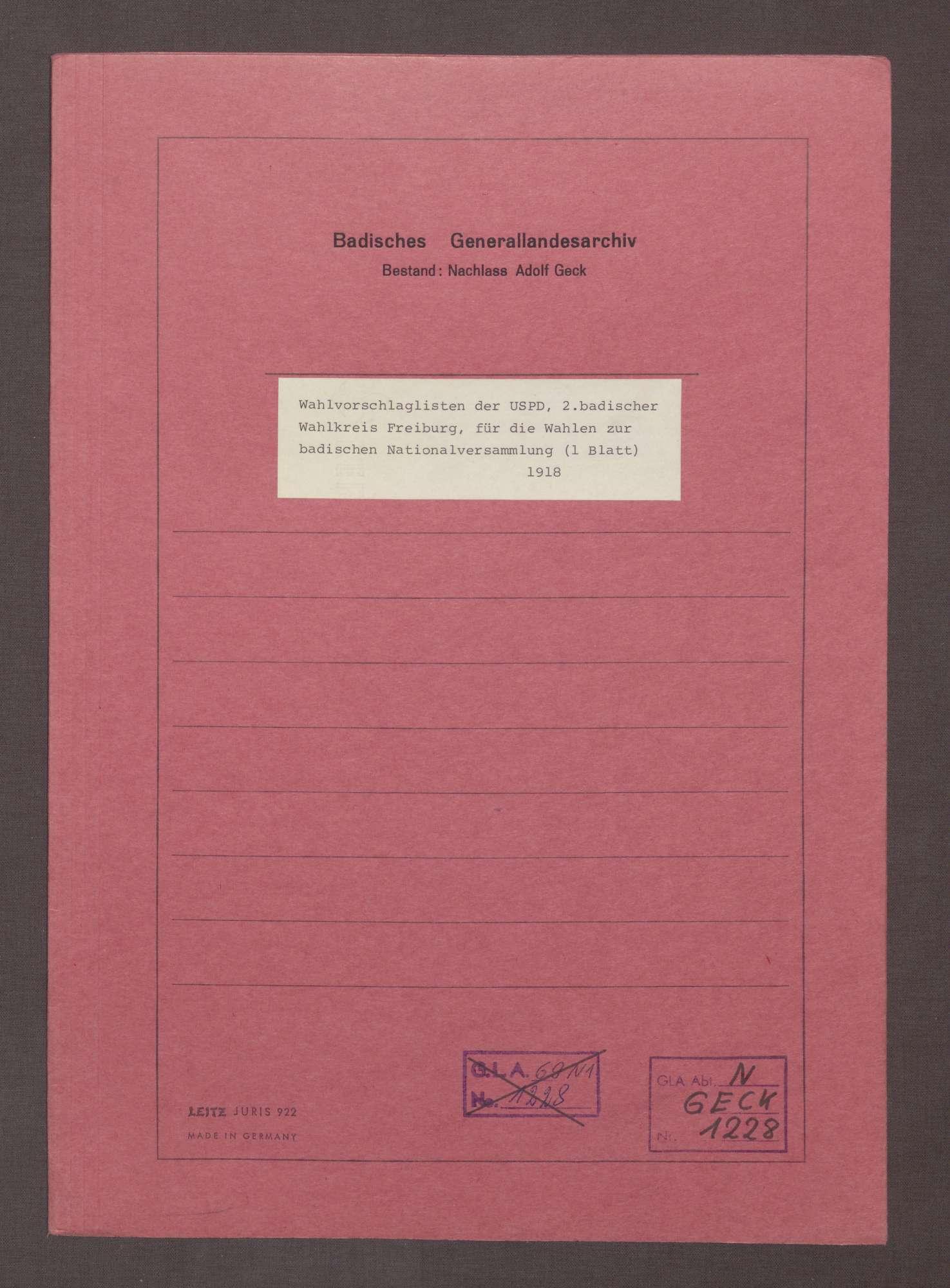 Wahlvorschlagslisten der USPD, 2. badischer Wahlkreis Freiburg, für die Wahlen zur badischen Nationalversammlung, Bild 1