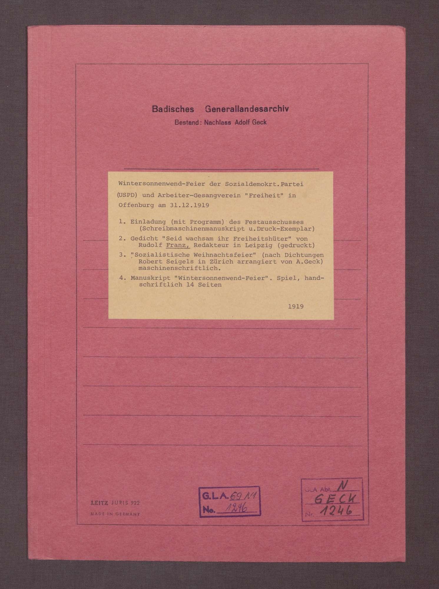 Einladung (mit Programm) des Festausschusses (Typoskript und Druckexemplar), Bild 1