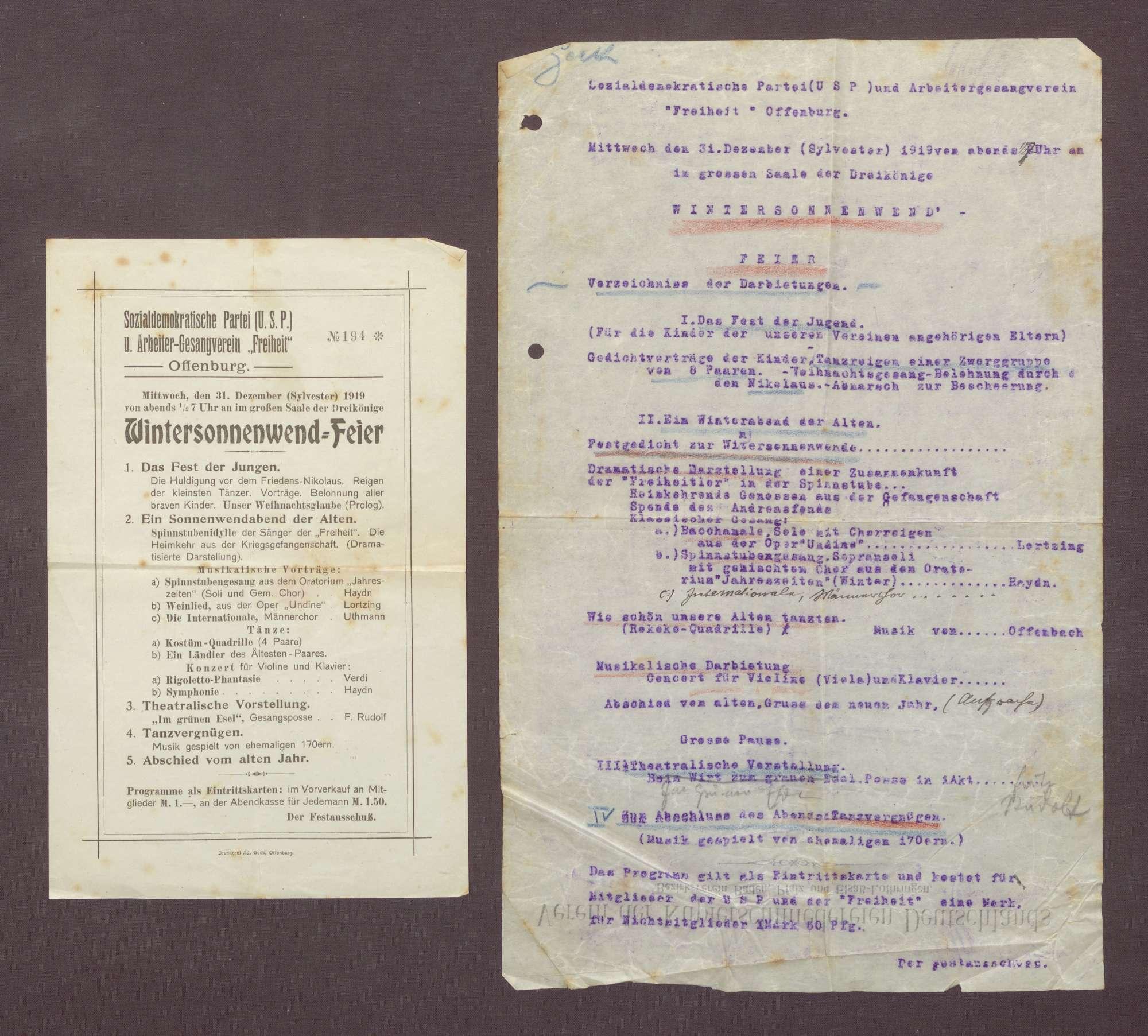 Einladung (mit Programm) des Festausschusses (Typoskript und Druckexemplar), Bild 2