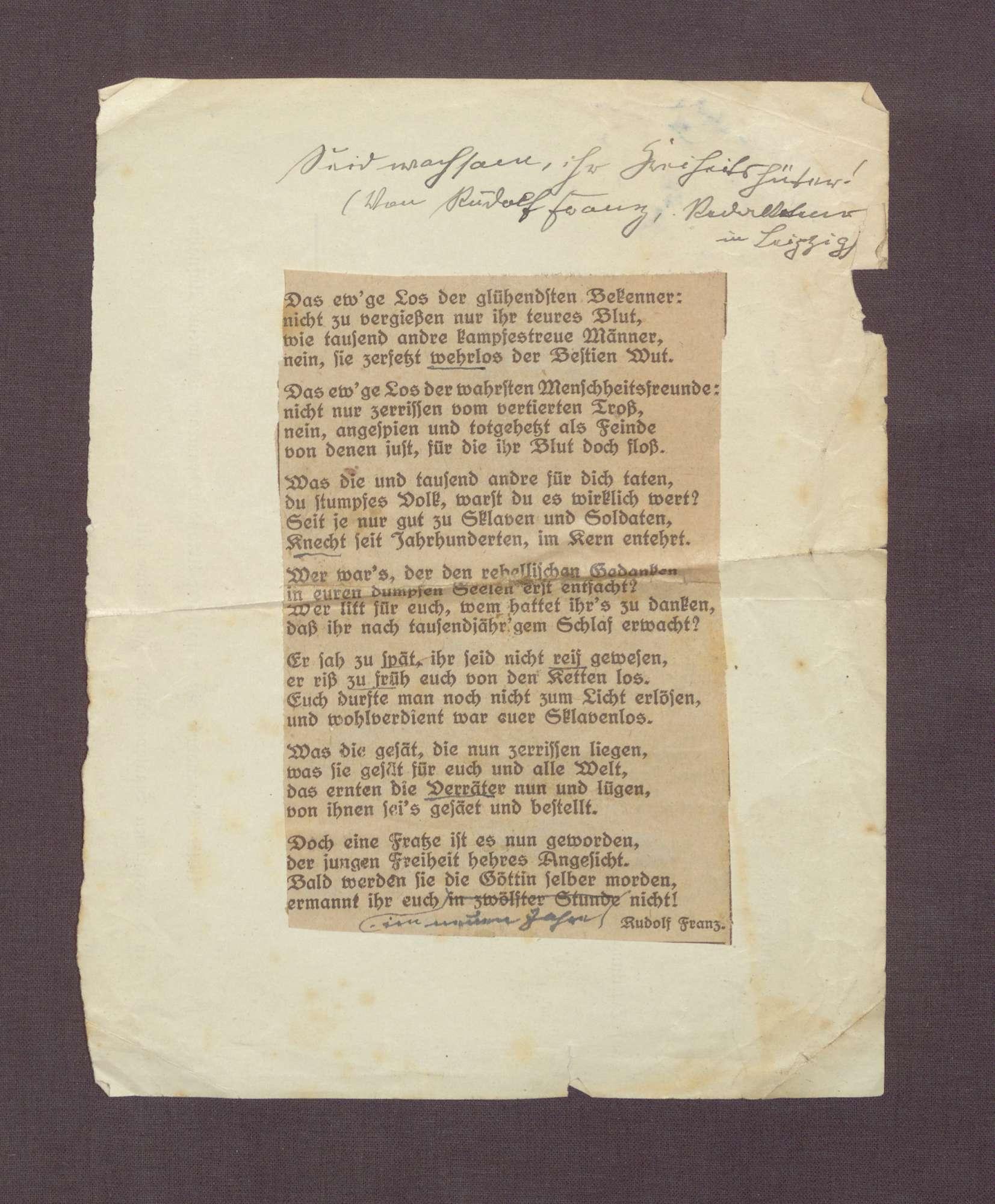 """Gedicht: """"Seid wachsam ihr Freiheitshüter"""" von Rudolf Franz, Redakteur in Leipzig, Bild 1"""