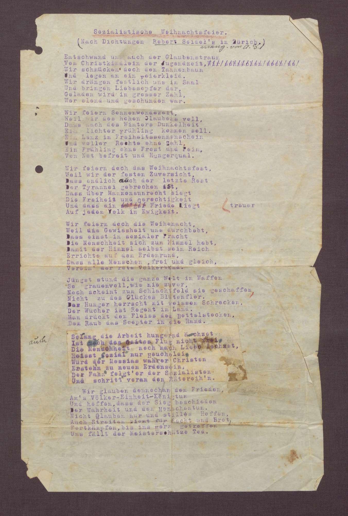 """""""Sozialistische Weihnachtsfreier"""" (nach Dichtungen Robert Seigels in Zürich arrangiert von Adolf Geck), Bild 1"""