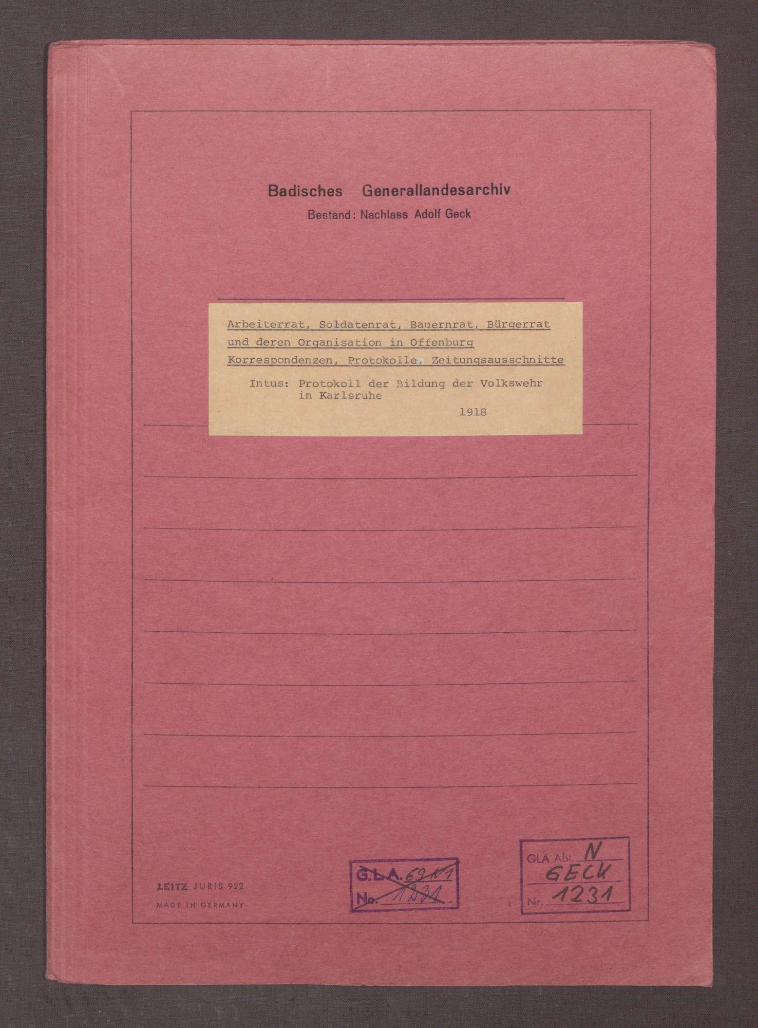 Arbeiter-, Soldaten-, Bauern- und Bürgerrat Offenburg: Korrespondenzen, Protokolle, Zeitungsausschnitte., Bild 1
