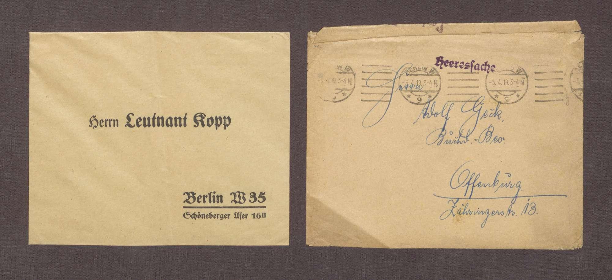 Leutnant Kopp, Berlin, Werbestelle O. K. Grenzschutz Nord, an Adolf Geck: Verpflichtungsschein für den Freiwilligen-Dienst zum Schutz der Ostgrenzen, 05.04.1919, Bild 2