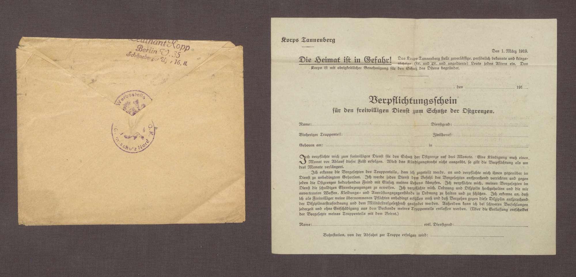 Leutnant Kopp, Berlin, Werbestelle O. K. Grenzschutz Nord, an Adolf Geck: Verpflichtungsschein für den Freiwilligen-Dienst zum Schutz der Ostgrenzen, 05.04.1919, Bild 3