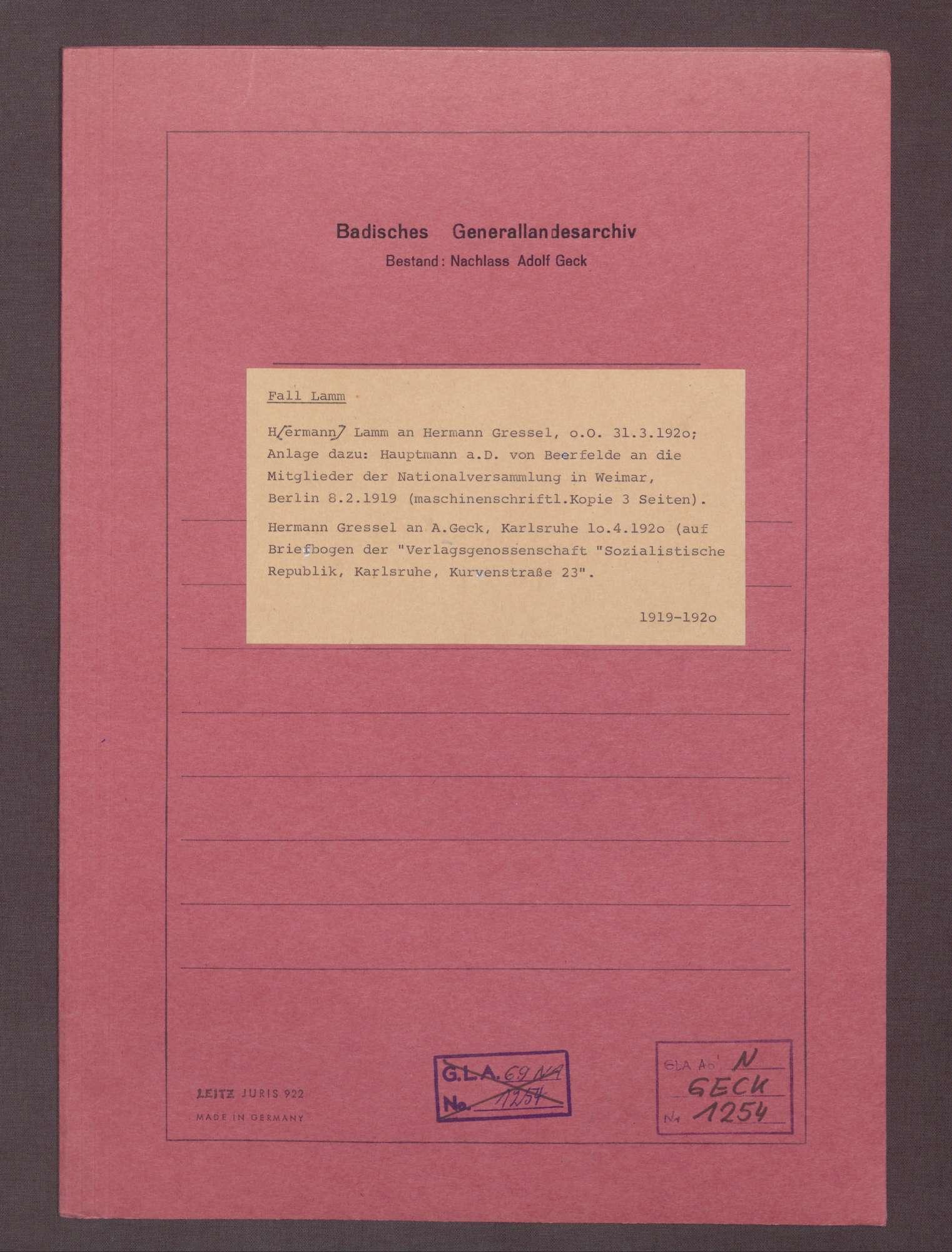 Hermann Lamm an Hermann Gressel: Hauptmann a. D. von Beerfelde am 08.02.1919 an die Mitglieder der Nationalversammlung in Weimar, Berlin, 31.02.1919, Bild 1