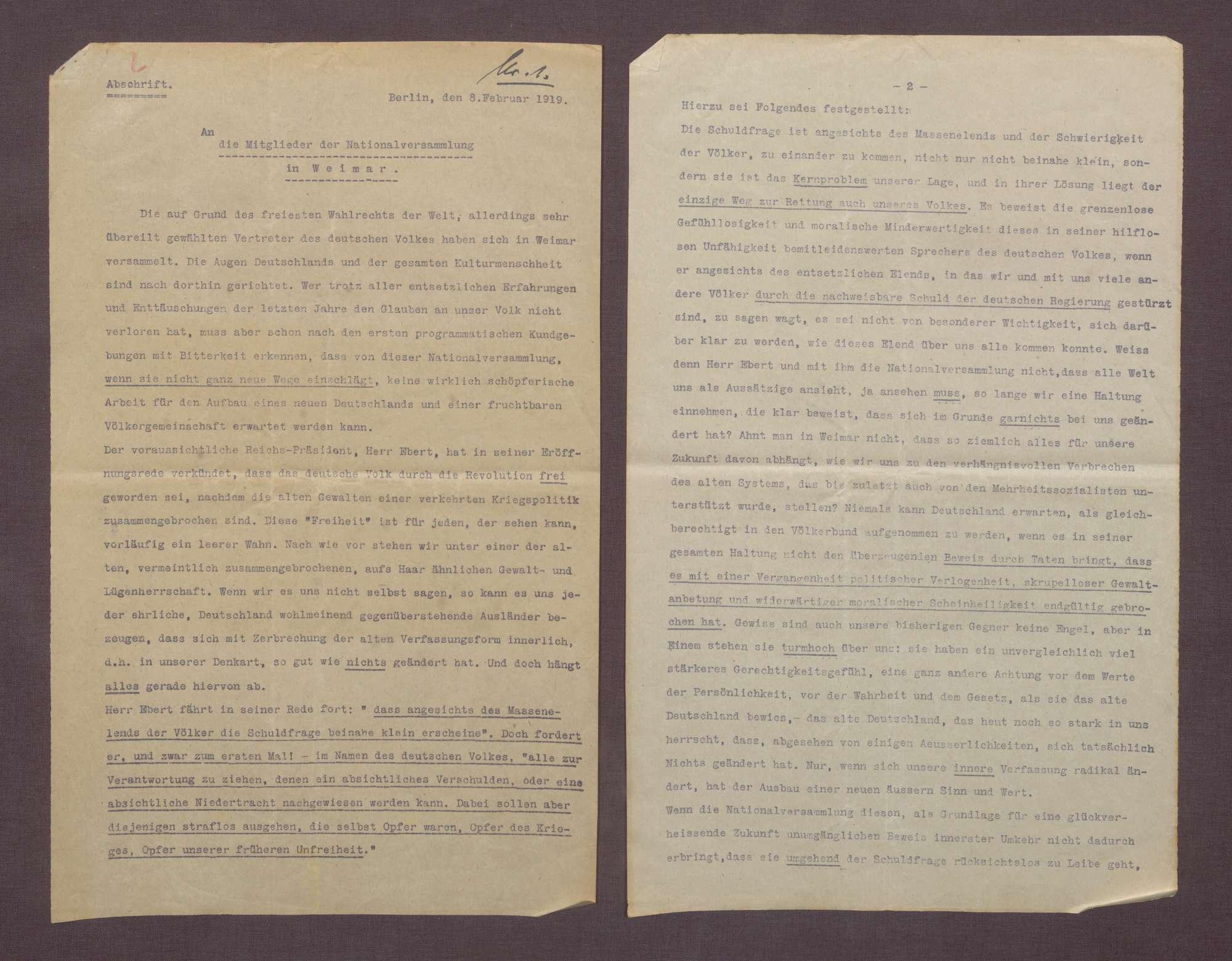 Hermann Lamm an Hermann Gressel: Hauptmann a. D. von Beerfelde am 08.02.1919 an die Mitglieder der Nationalversammlung in Weimar, Berlin, 31.02.1919, Bild 2