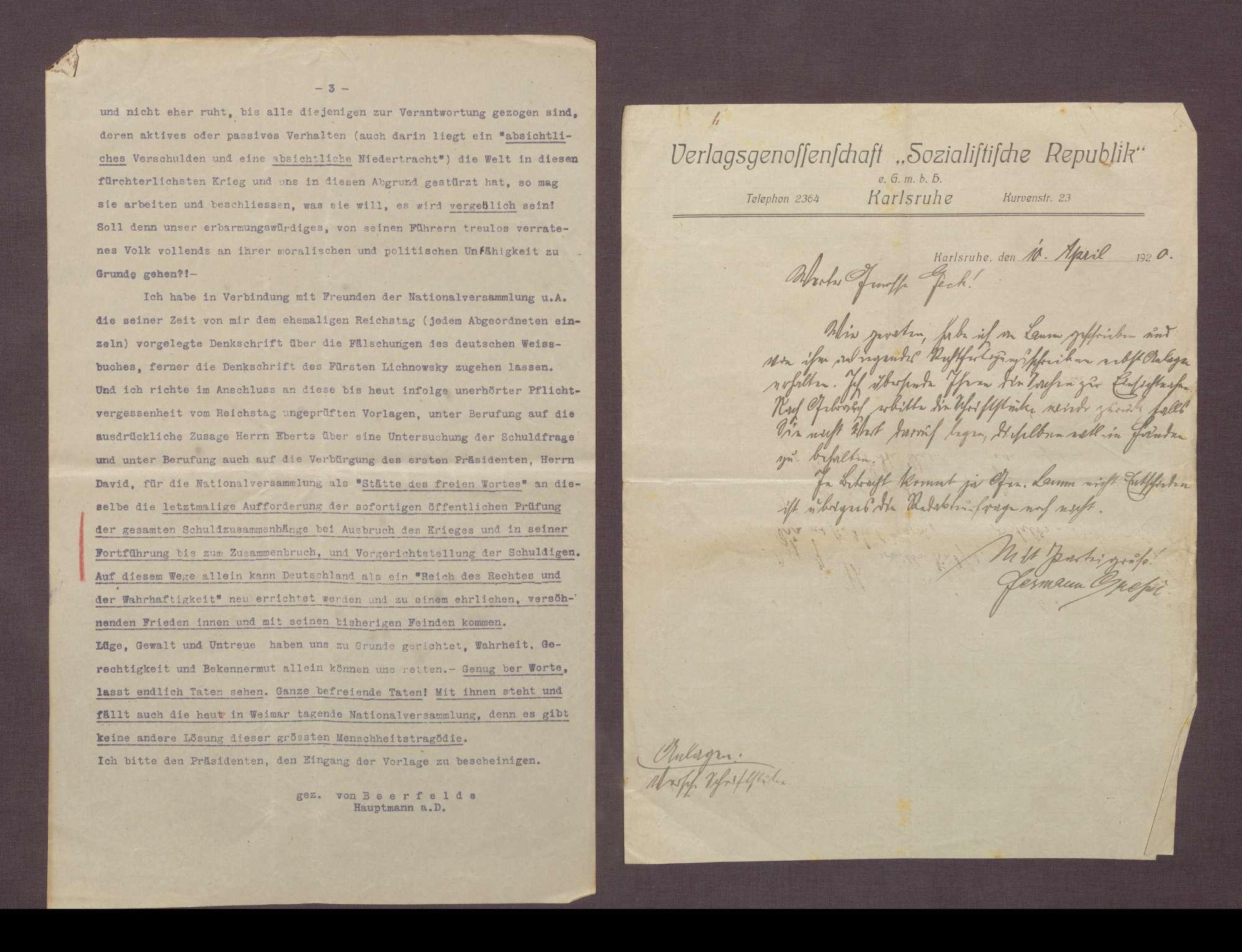 Hermann Lamm an Hermann Gressel: Hauptmann a. D. von Beerfelde am 08.02.1919 an die Mitglieder der Nationalversammlung in Weimar, Berlin, 31.02.1919, Bild 3