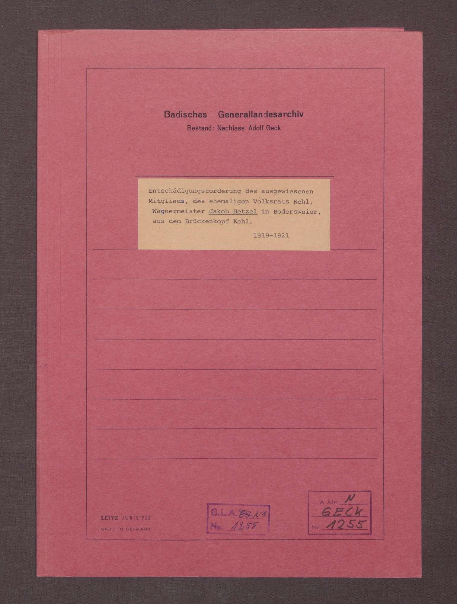 Entschädigungsforderungen von Jakbob Hetzel, Wagenmeister und Mitglied des Volksrates Kehl, Bodersweier, Bild 1