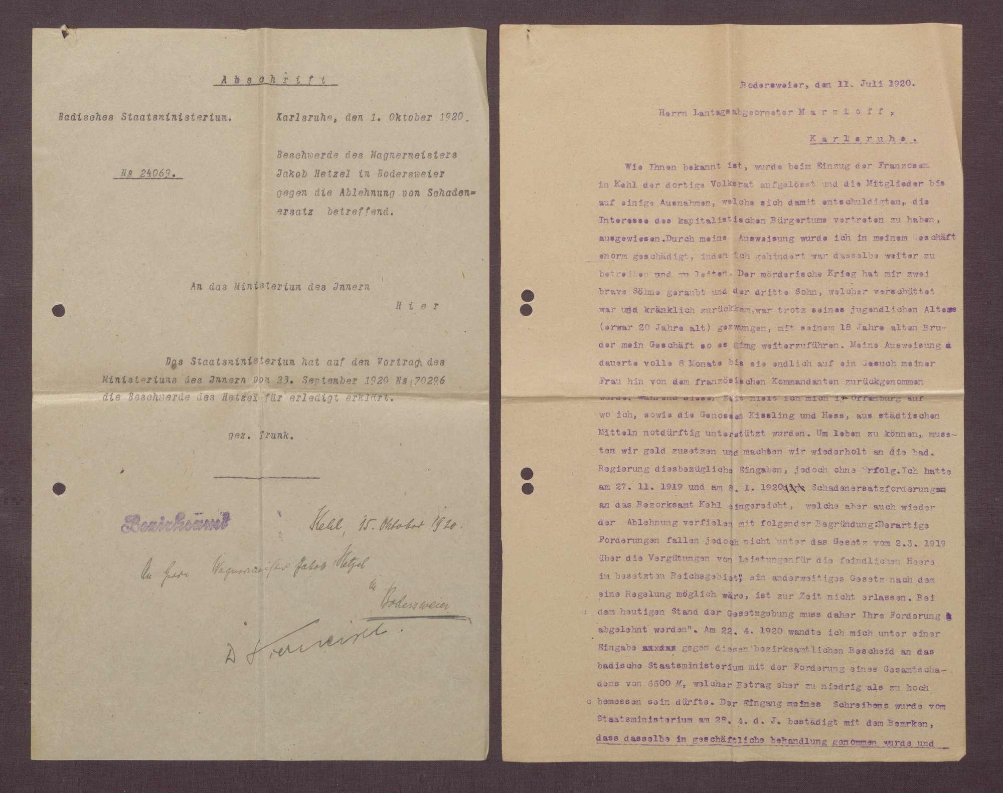 Entschädigungsforderungen von Jakbob Hetzel, Wagenmeister und Mitglied des Volksrates Kehl, Bodersweier, Bild 3