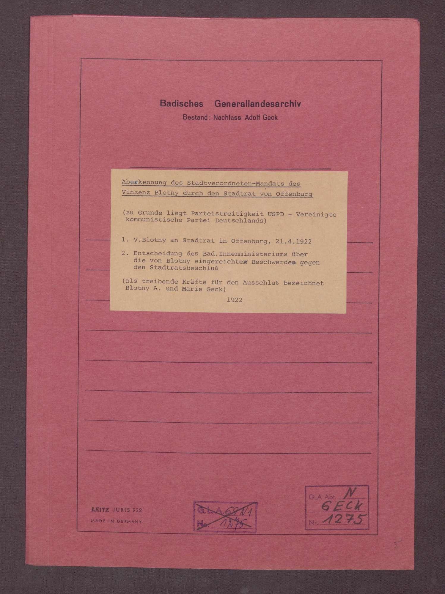 Schreiben von Vincenz Blotny an den Stadtrat in Offenburg, Bild 1