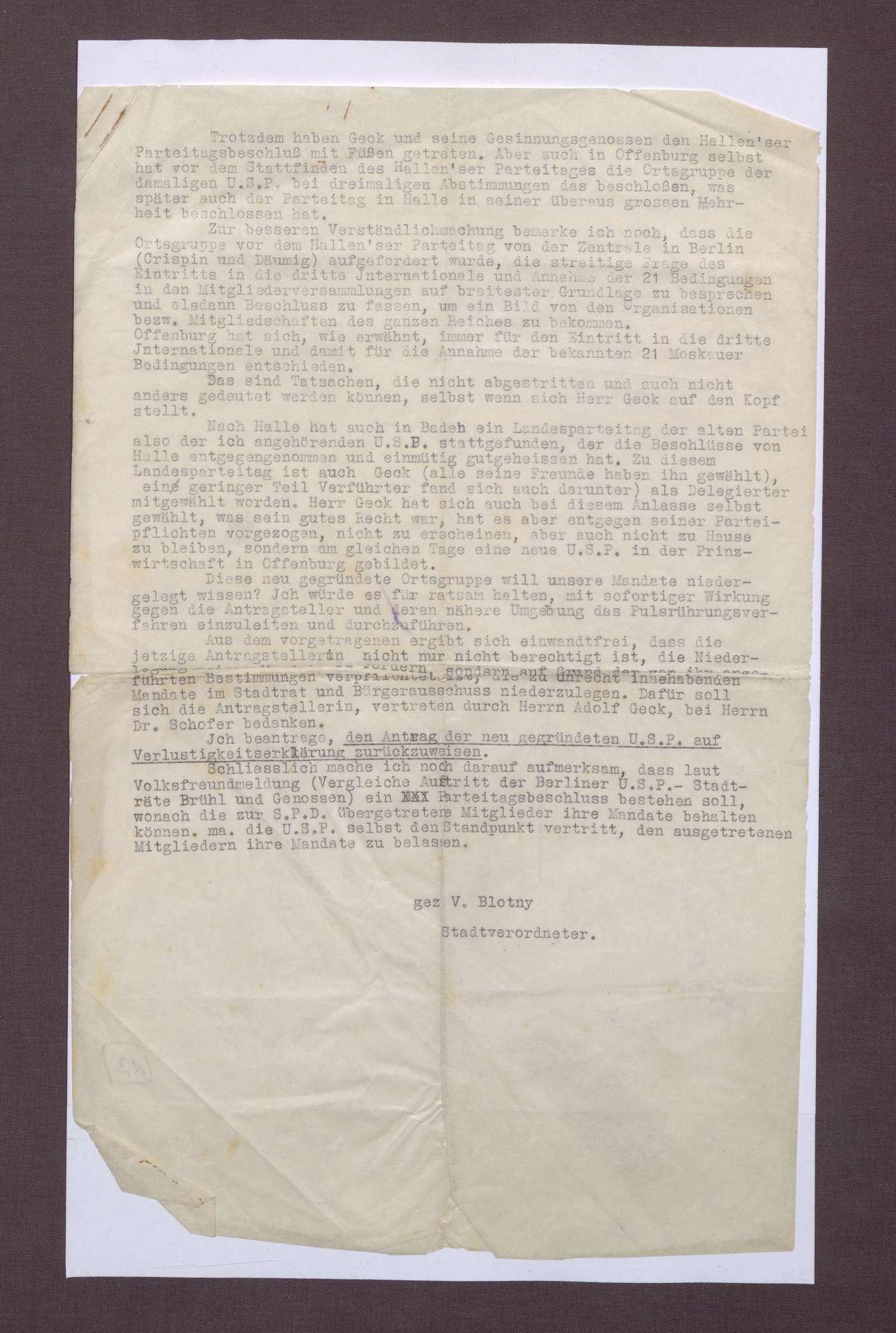 Schreiben von Vincenz Blotny an den Stadtrat in Offenburg, Bild 3