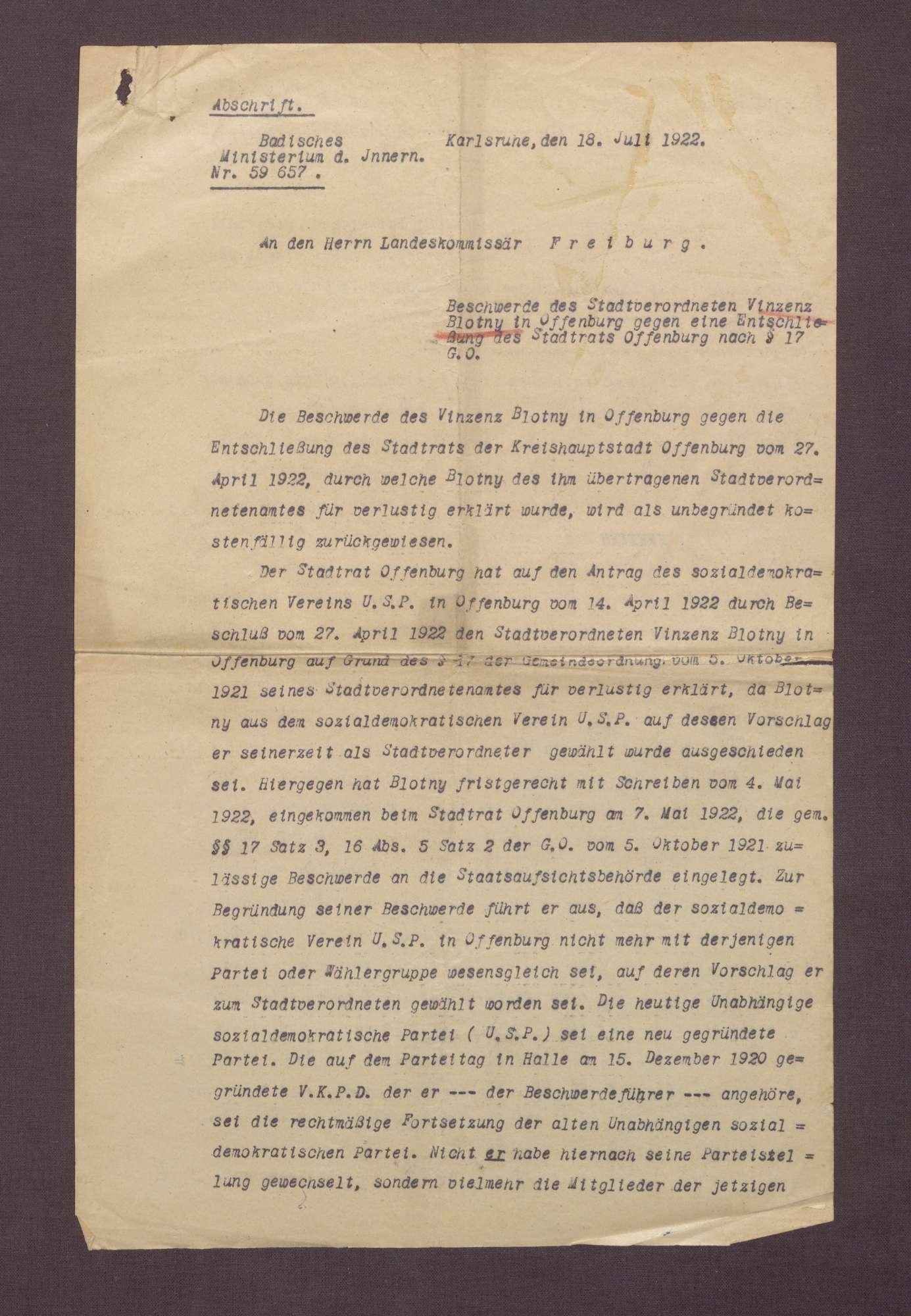 Entscheidung des Badischen Innenministeriums über die von Blotny eingereichte Beschwerde gegen den Stadtratsbeschluss (als treibende Kräfte für den Ausschluss bezeichnet Blotny Adolf und Marie Geck), Bild 1