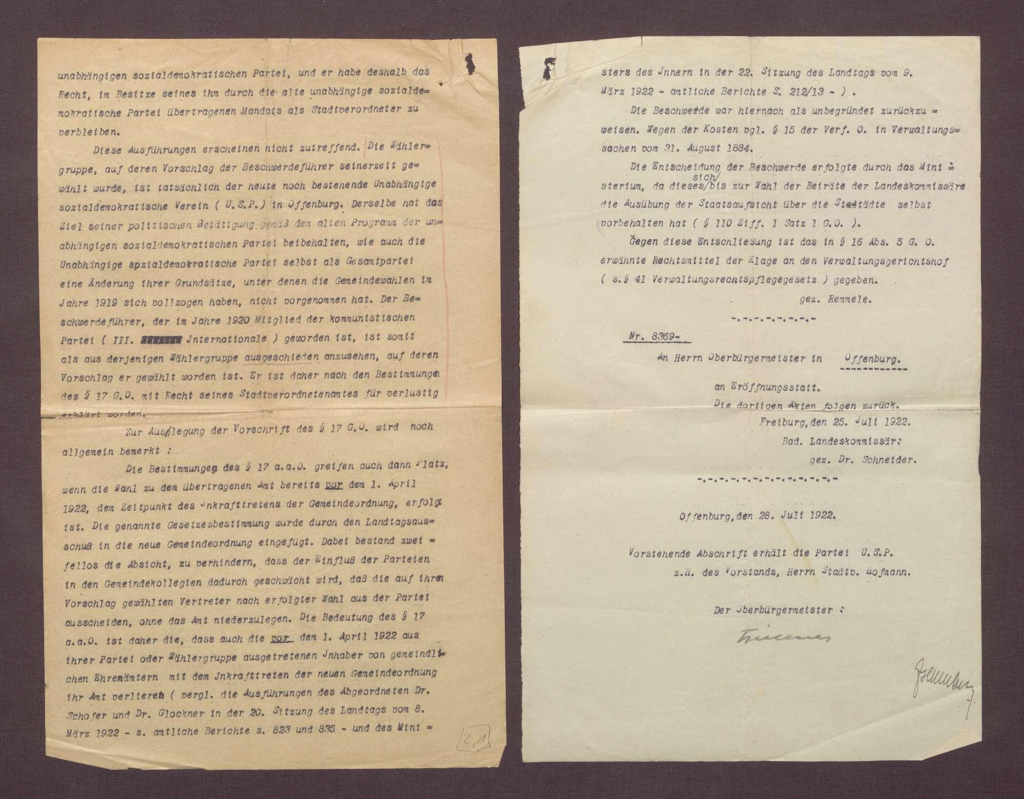 Entscheidung des Badischen Innenministeriums über die von Blotny eingereichte Beschwerde gegen den Stadtratsbeschluss (als treibende Kräfte für den Ausschluss bezeichnet Blotny Adolf und Marie Geck), Bild 2