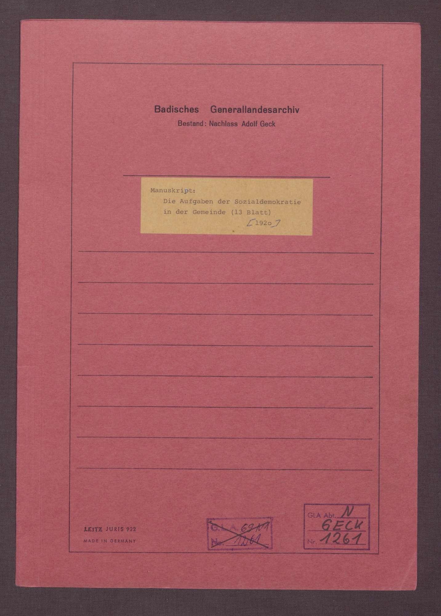 Manuskript: Die Aufgaben der Sozialdemokratie in der Gemeinde, Bild 1