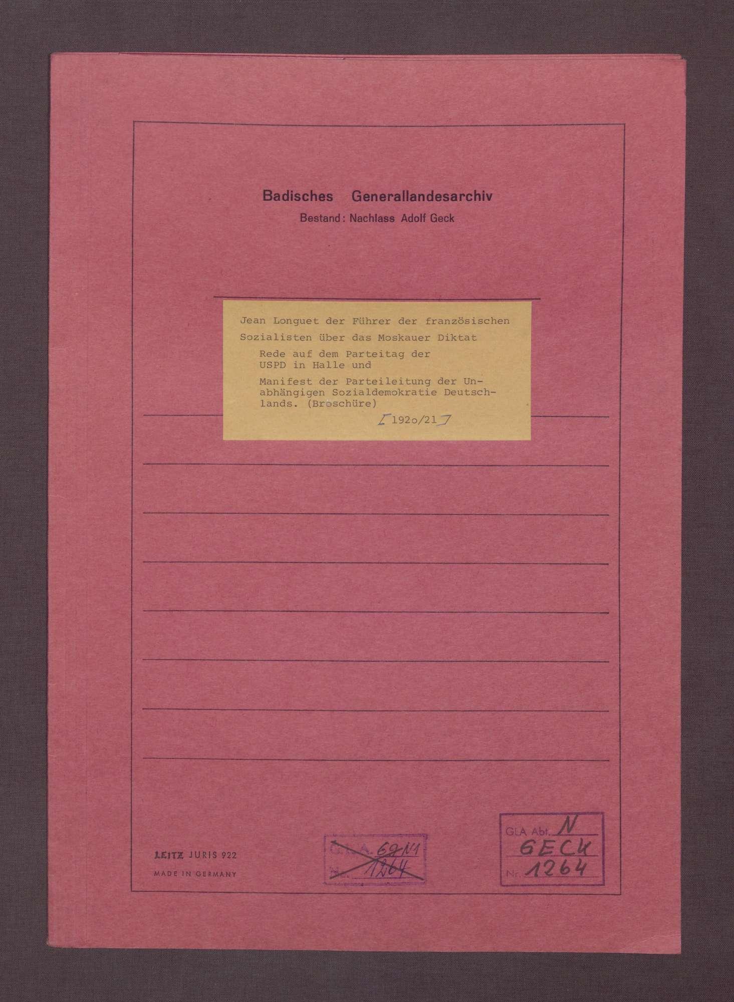 """Broschüre: """"Jean Longuet, Führer der französischen Sozialisten, über das Moskauer Diktat."""", Rede auf dem Parteitag der USPD in Halle, 1920/21, Bild 1"""