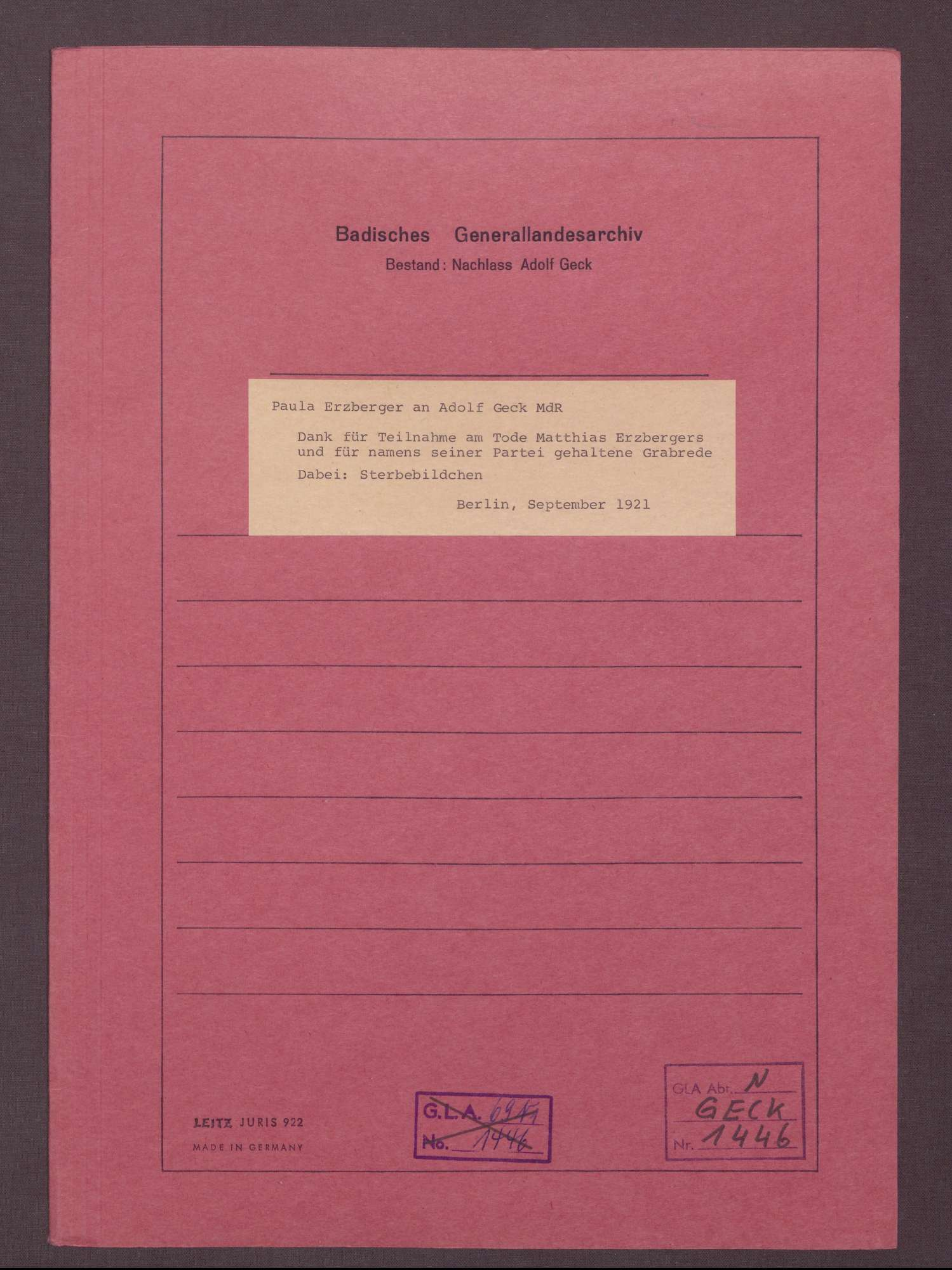 Paula Erzberger an Adolf Geck: Dank für Teilnahme am Tode von Matthias Erzbergers und für die im Namen seiner Partei gehaltene Grabrede, Berlin, 09.1921, Bild 1