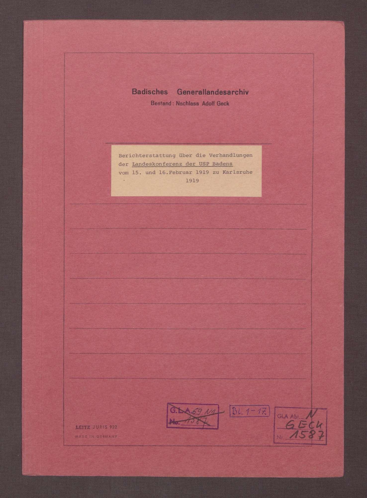 Landeskonferenz der USPD Badens vom 15. bis zum 16. Februar 1919 zu Karlsruhe, Bild 1