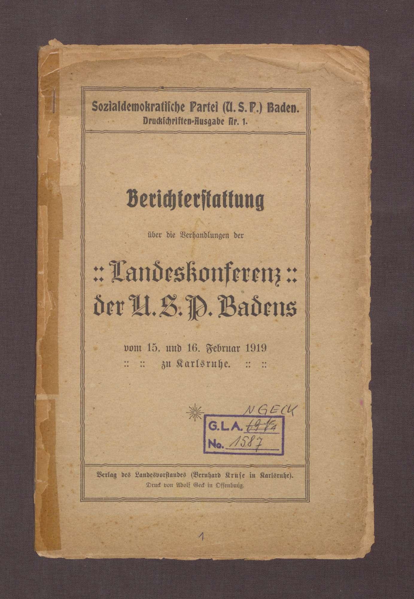 Landeskonferenz der USPD Badens vom 15. bis zum 16. Februar 1919 zu Karlsruhe, Bild 2