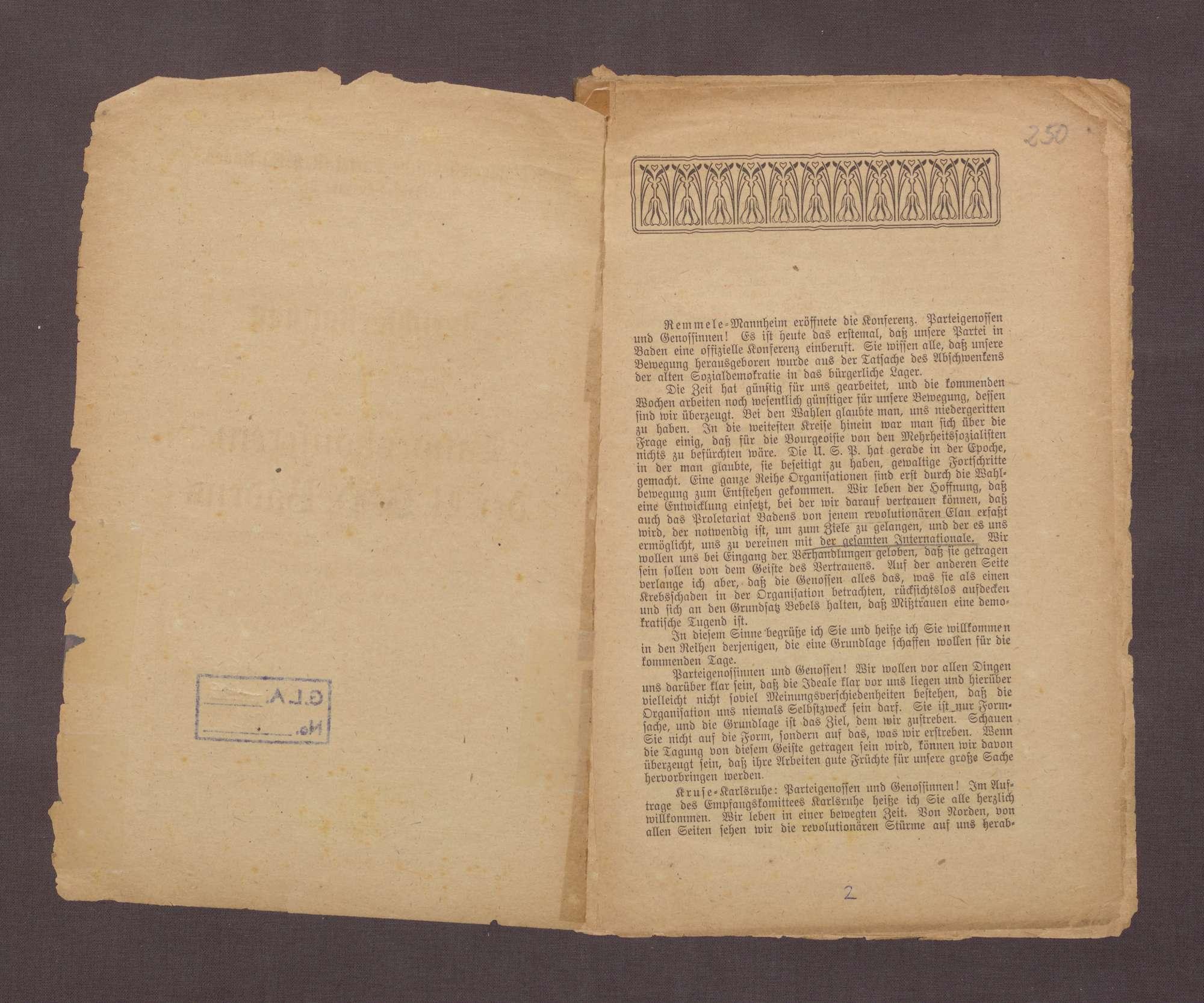 Landeskonferenz der USPD Badens vom 15. bis zum 16. Februar 1919 zu Karlsruhe, Bild 3