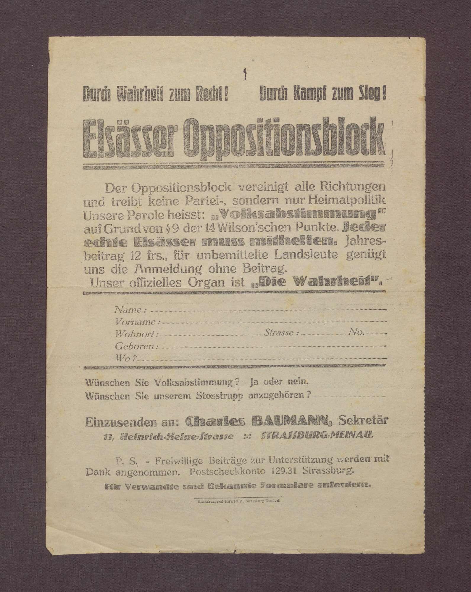 """Flugblatt des Elsässer Oppositionsblocks: """"Unsere Parole heißt:"""