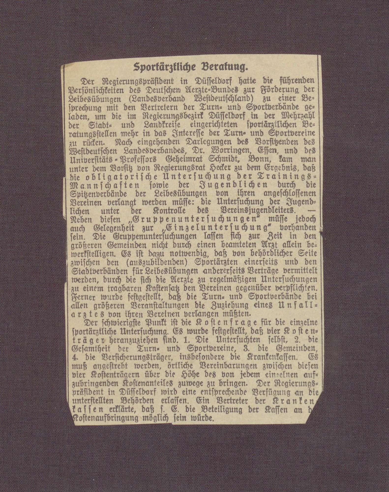 """""""Sportärztliche Betreuung"""" in: Frankfurter Zeitung, Bild 2"""