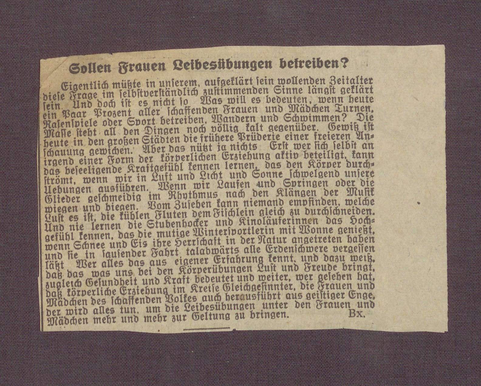 """""""Sollen Frauen Leibesübungen betreiben?"""" (unbestimmbare sächsische sozialdemokratische Zeitung), Bild 1"""