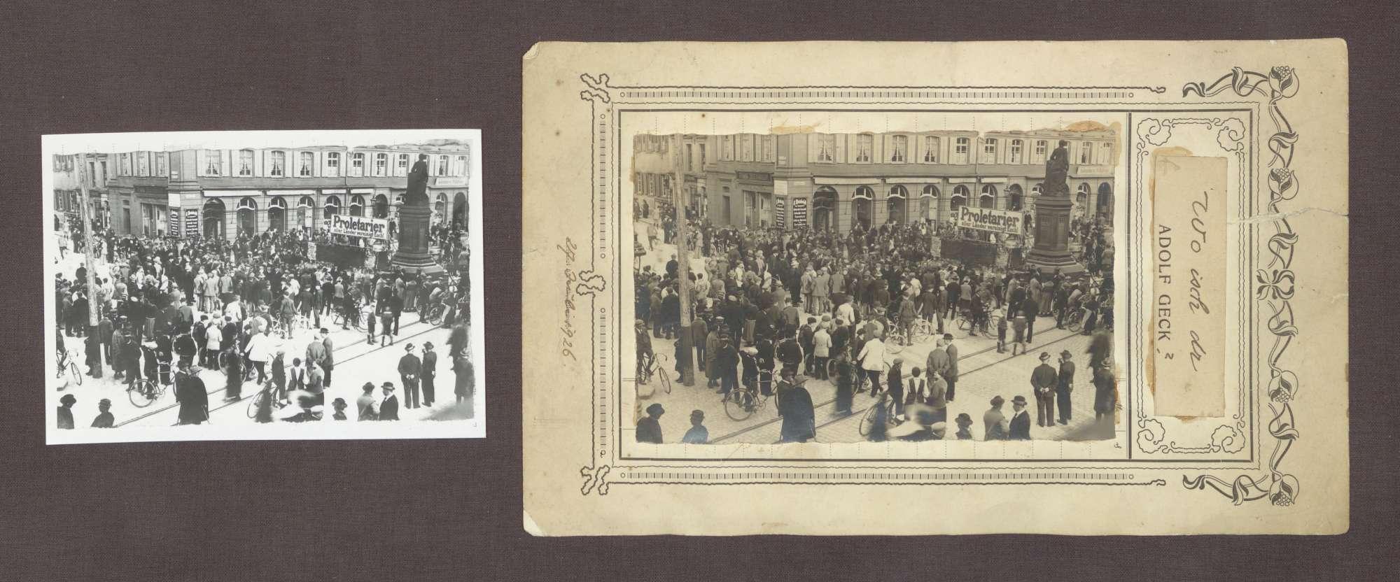 """Volksversammlung am 27. Juli 1926 auf der Hauptstraße in Offenburg: """"Proletarier aller Länder vereinigt Euch"""", Bild 1"""